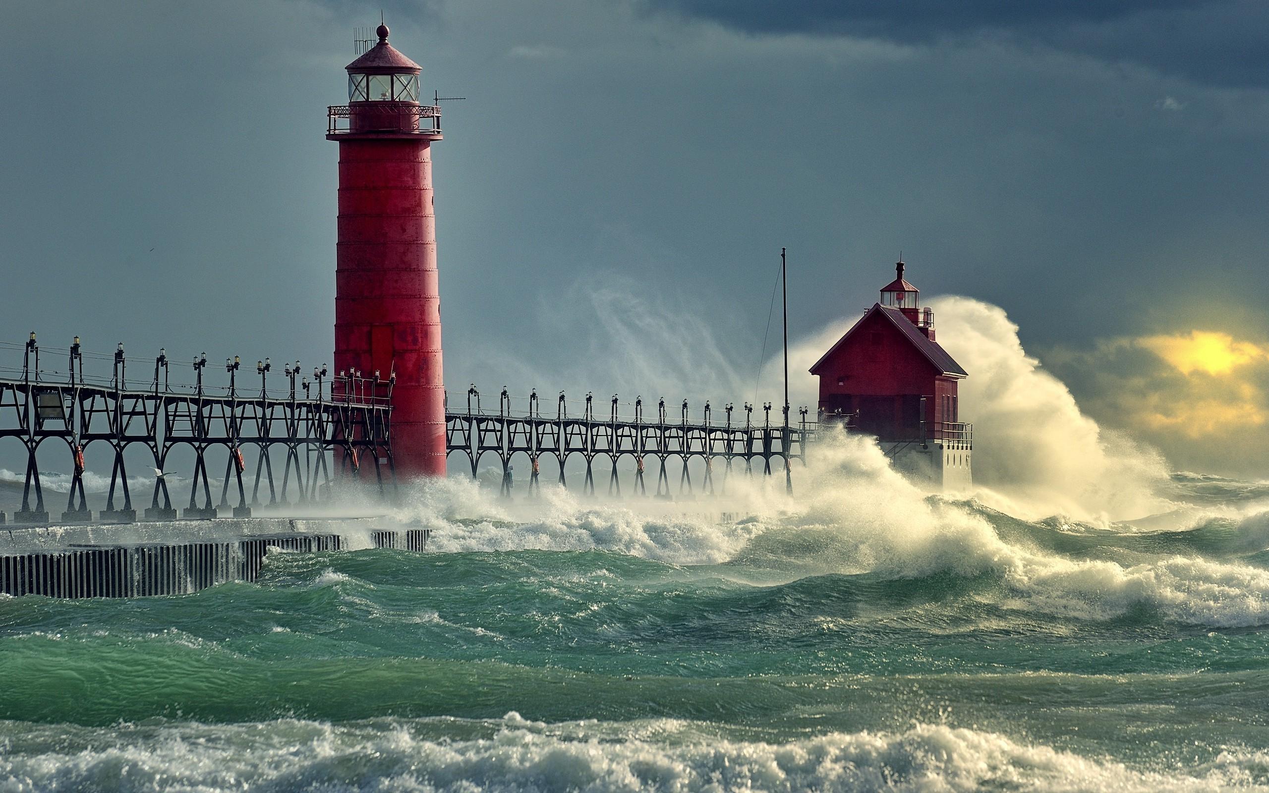 Wallpaper Sea Storm Tower Coast Lighthouse Ocean