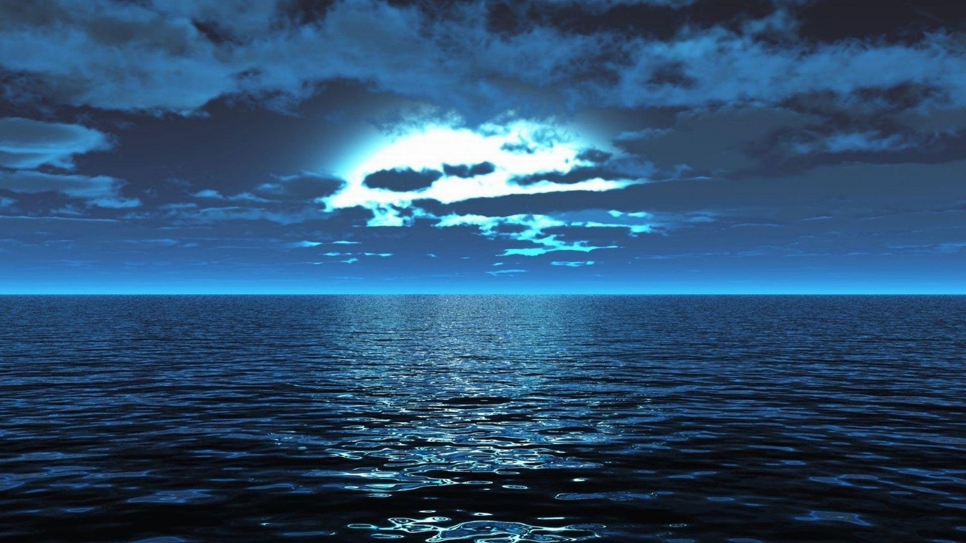 Sea Surface Calm Smooth Light Night