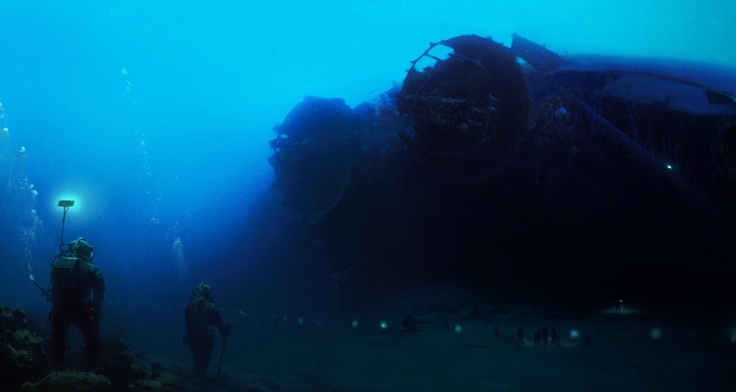 Wallpaper Sea Wreck Divers Scuba Diving Reef Outdoor