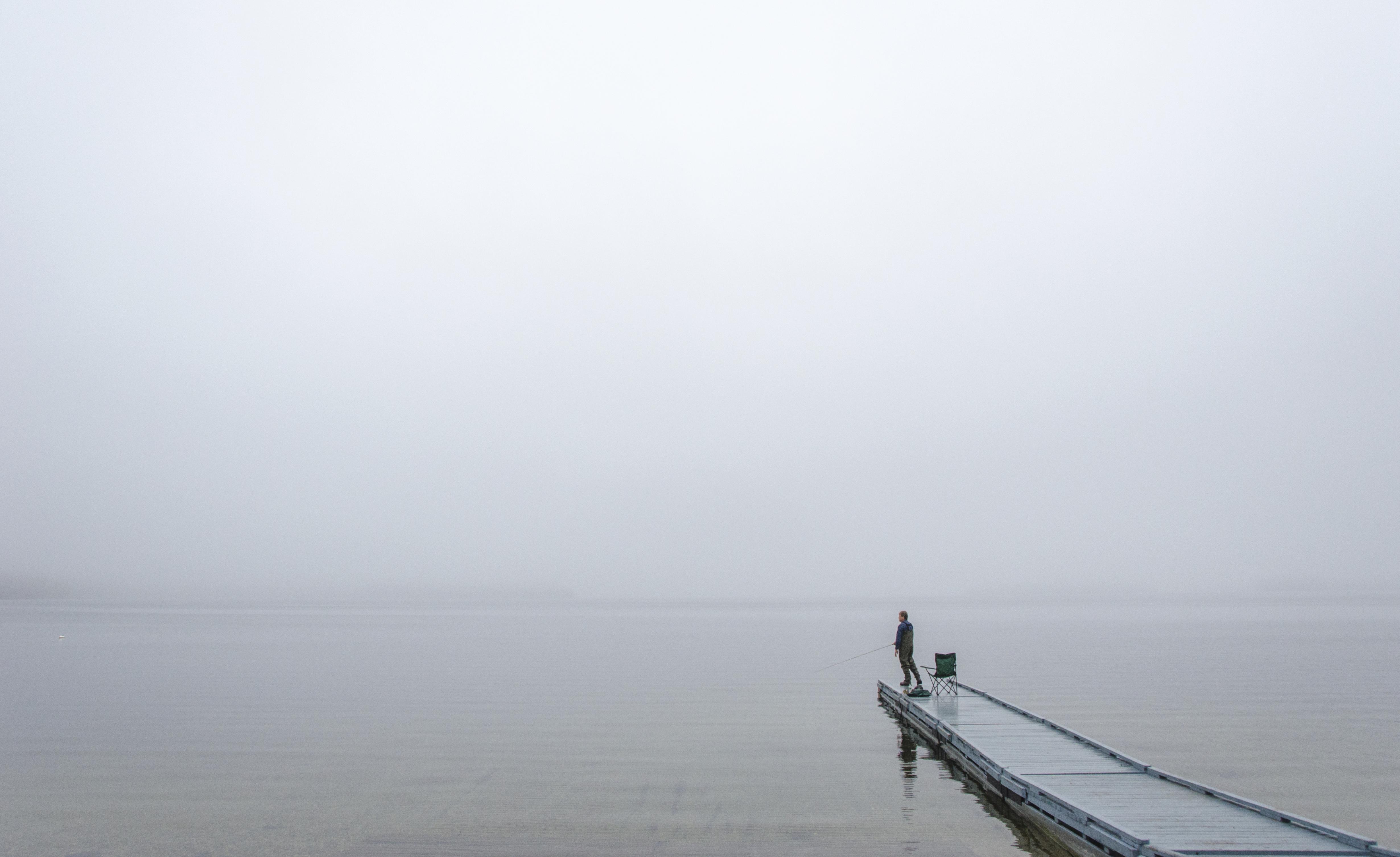 Serene Nikond5100 Newengland Fishing Lake Minimal Simple Maine Gray Grey Muted Moody Peace Peaceful Calm Fog