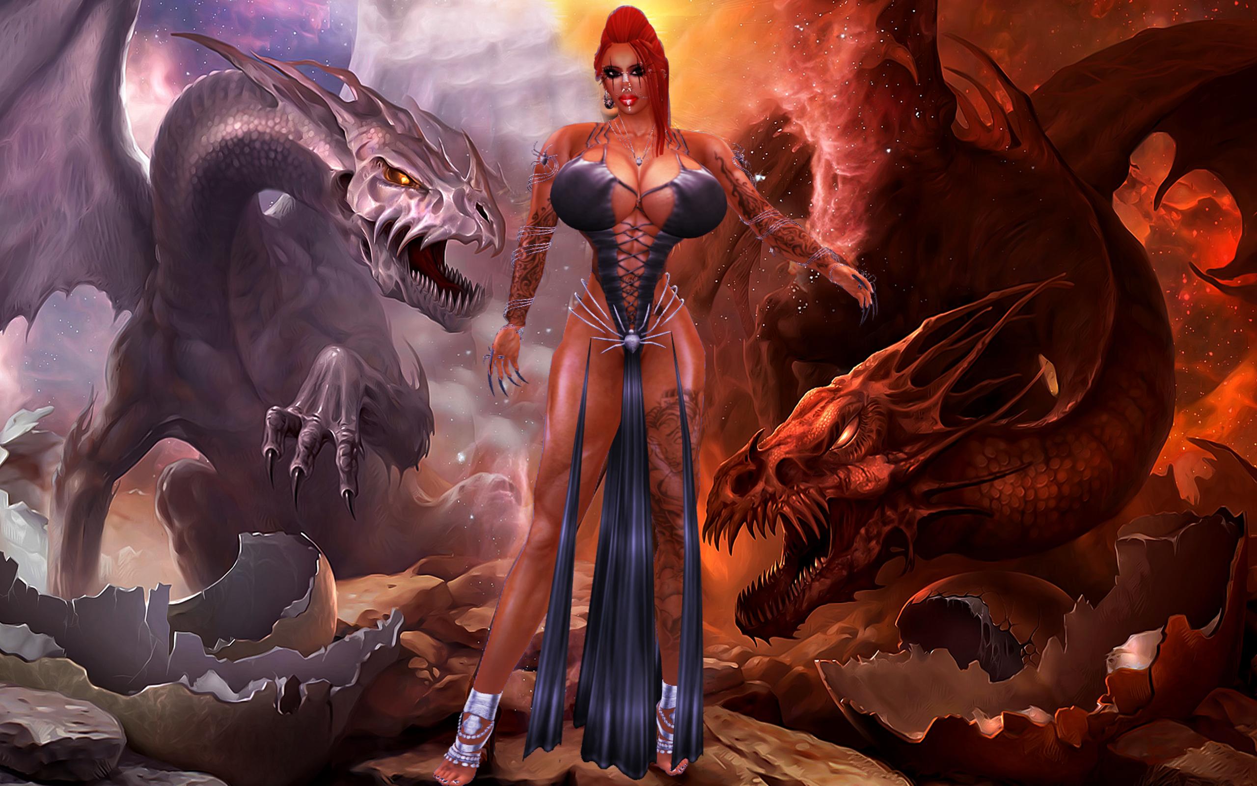 Wallpaper  Sexy, Erotic, Muscular, Dragons, Fantasy, Secondlife, Diablo, Hugetits -4604