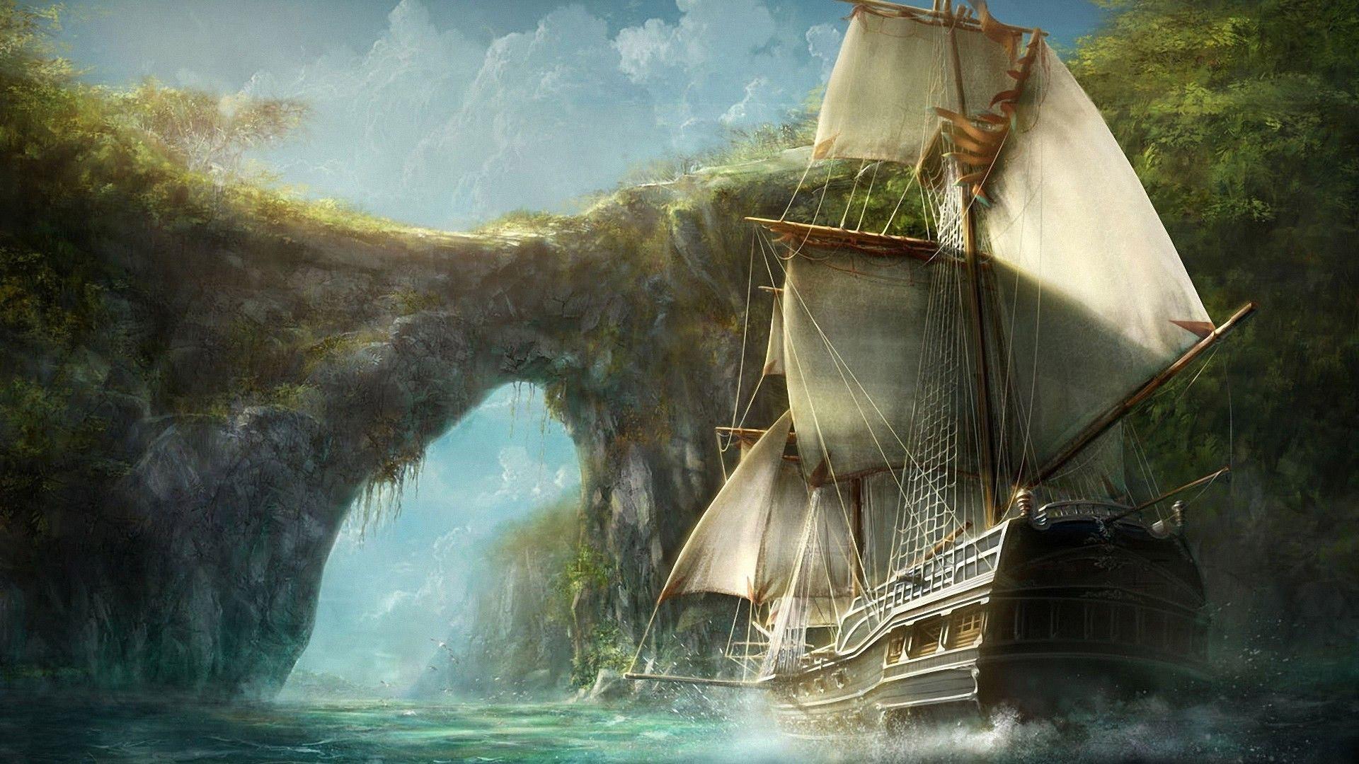 Ship Digital Art Bay Water Vehicle Rocks Pirates Jungle Caribbean Old Ghost Screenshot 1920x1080