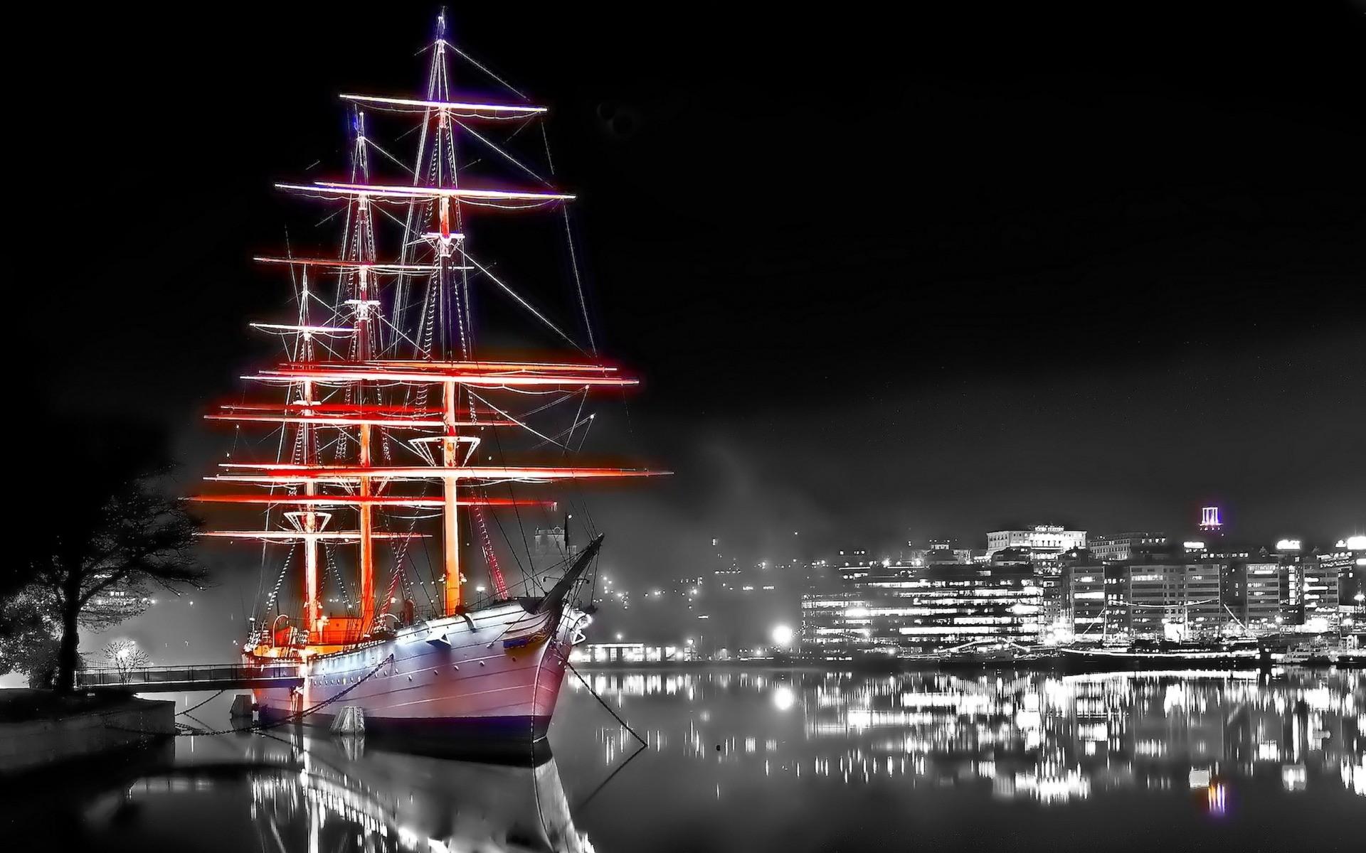 kapal seni digital perahu Cityscape malam refleksi kendaraan mewarnai selektif menara perahu tiang kapal