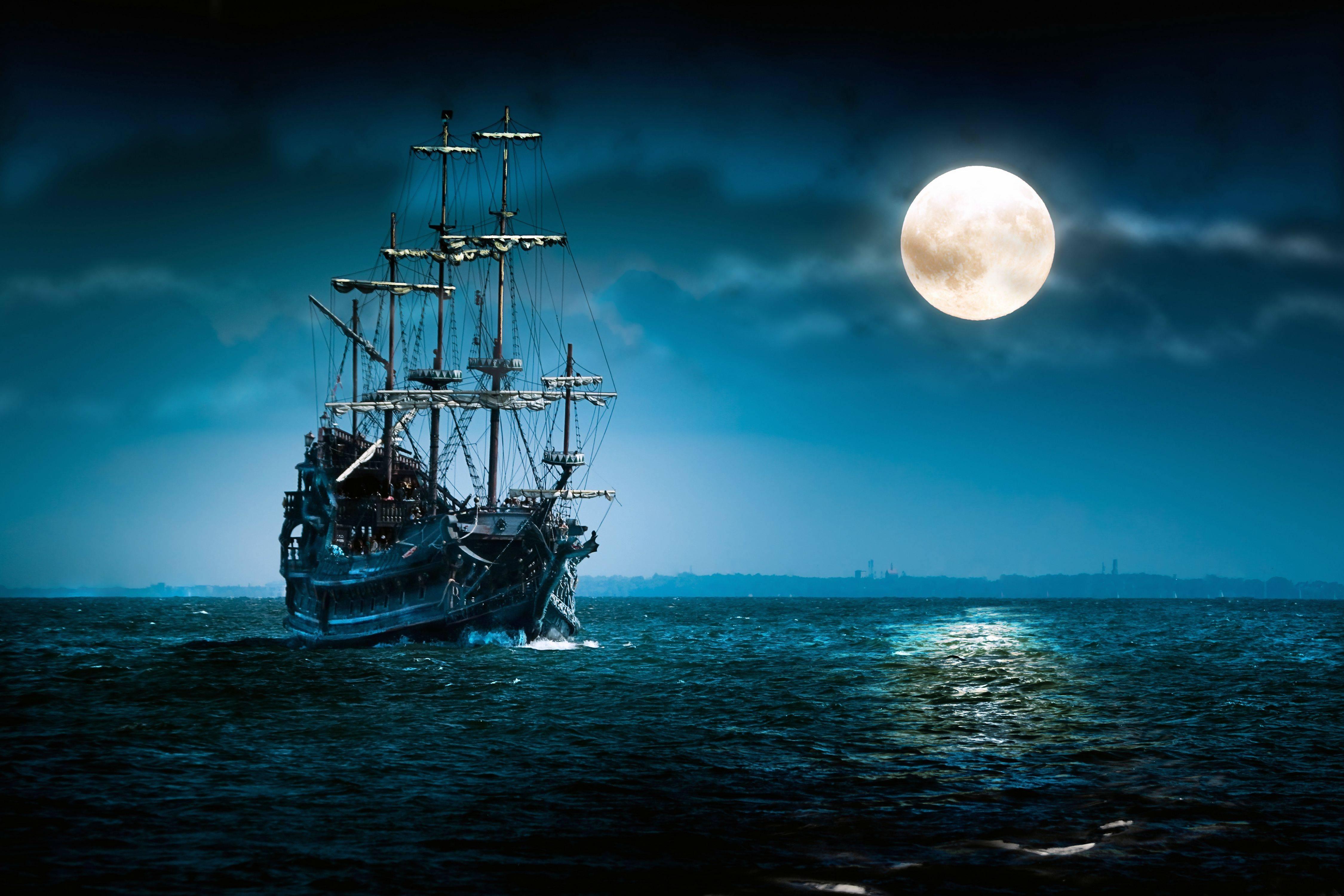Sfondi Mare Notte Veicolo Luna Chiaro Di Luna Orizzonte