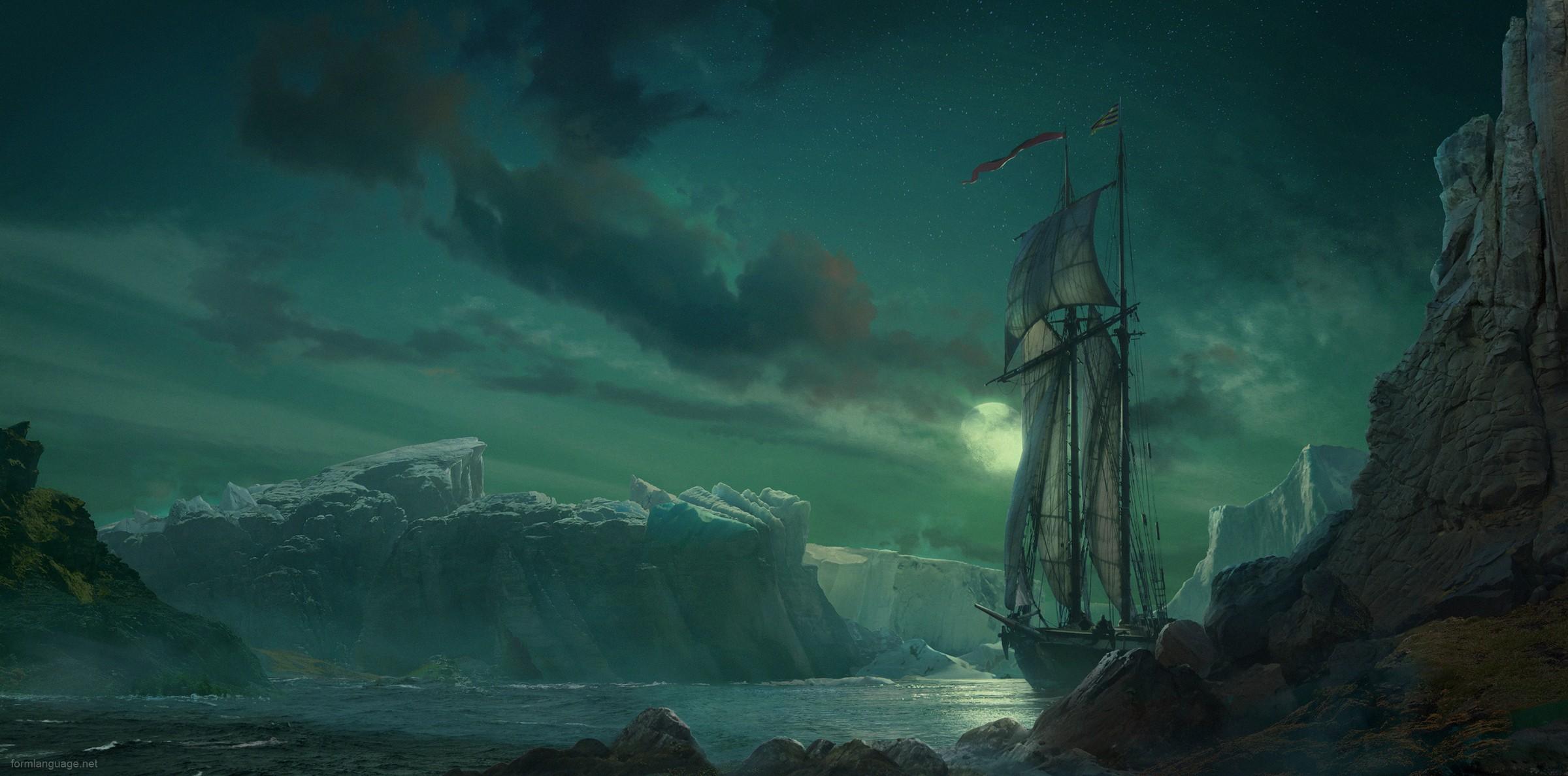 картинка корабль море скалы например