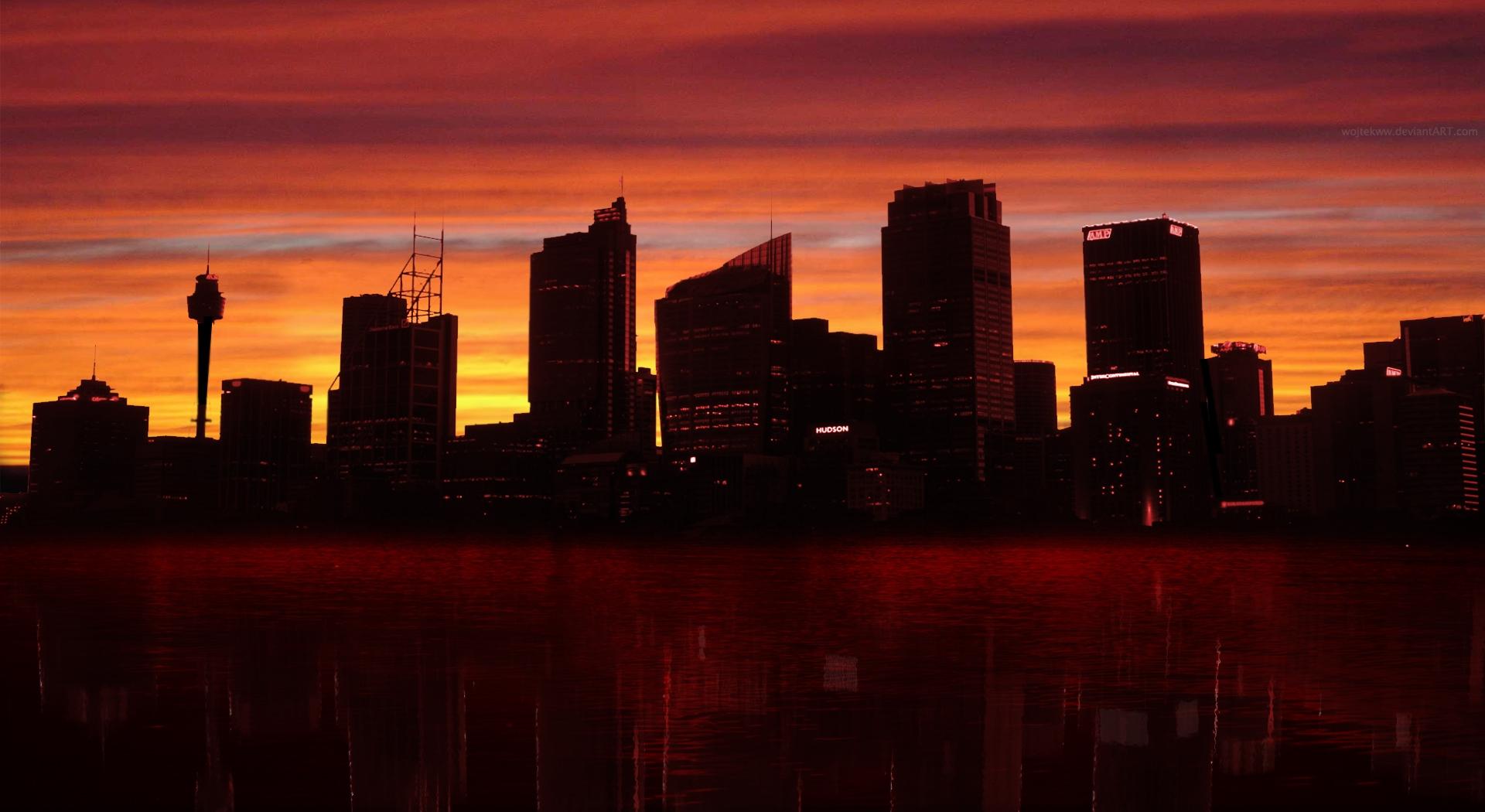 Картинка город закат