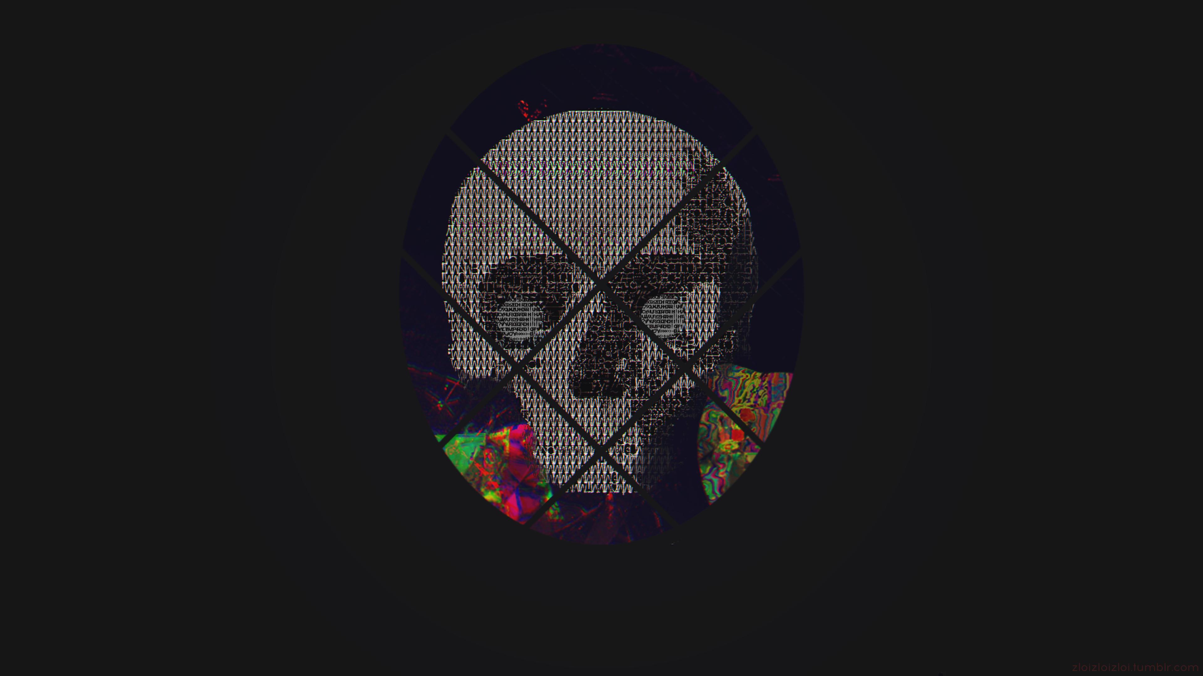 Wallpaper Skull Ascii Art Abstract Glitch Art 3840x2160