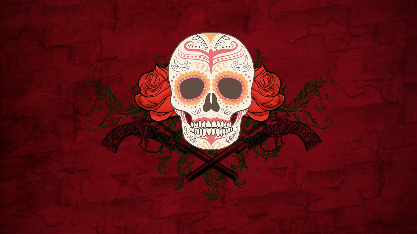 skull Dia de los Muertos flowers rose artwork