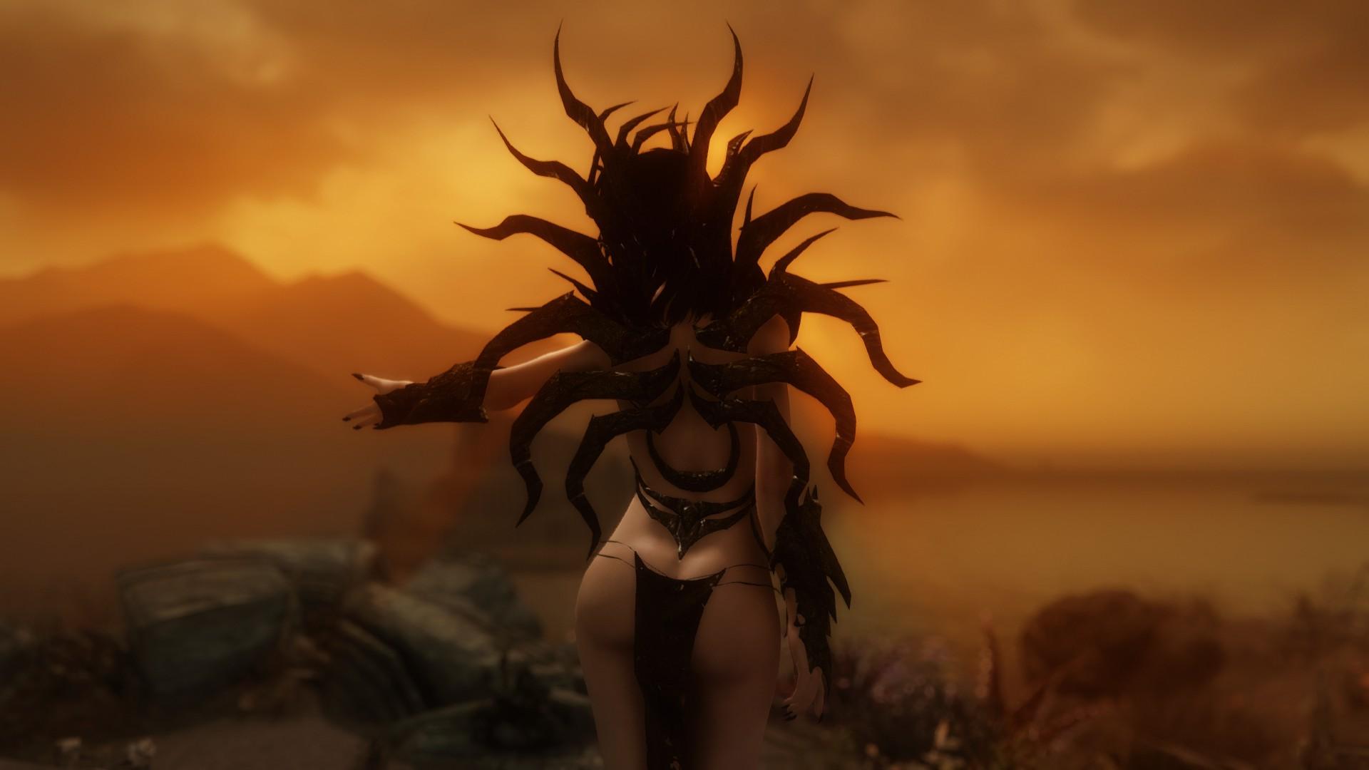 Sky Armor Demon Mythology Mod ENB Cloth Tree Darkness Screenshot Skyrim Computer Wallpaper Mora Mods Solstheim