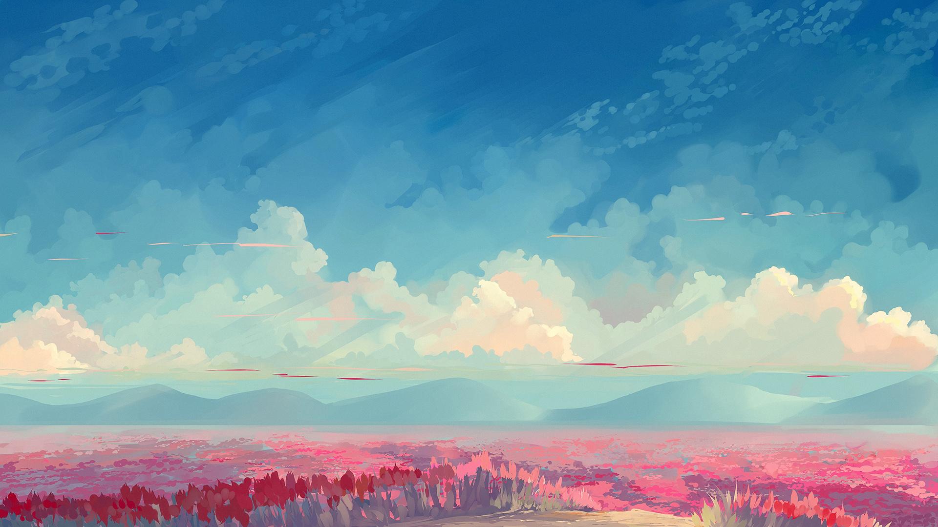 Wallpaper Sky Blue Clouds Flowers Painting 1920x1080 Axela 1754289 Hd Wallpapers Wallhere