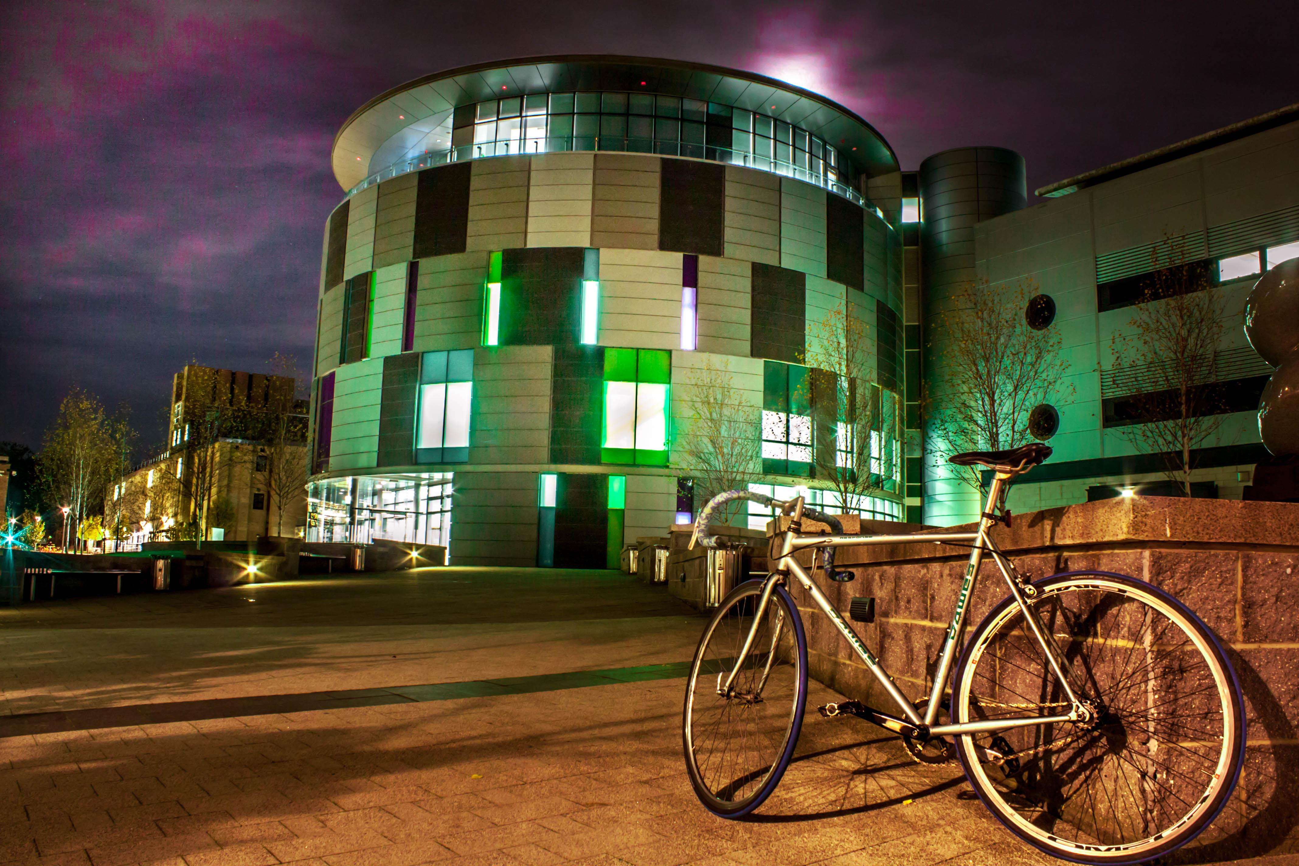 Awesome Sky Orange Green Bike Night Campus Lights Site University Durham Purple  Centre Science Learning Calman Dawes Amazing Ideas