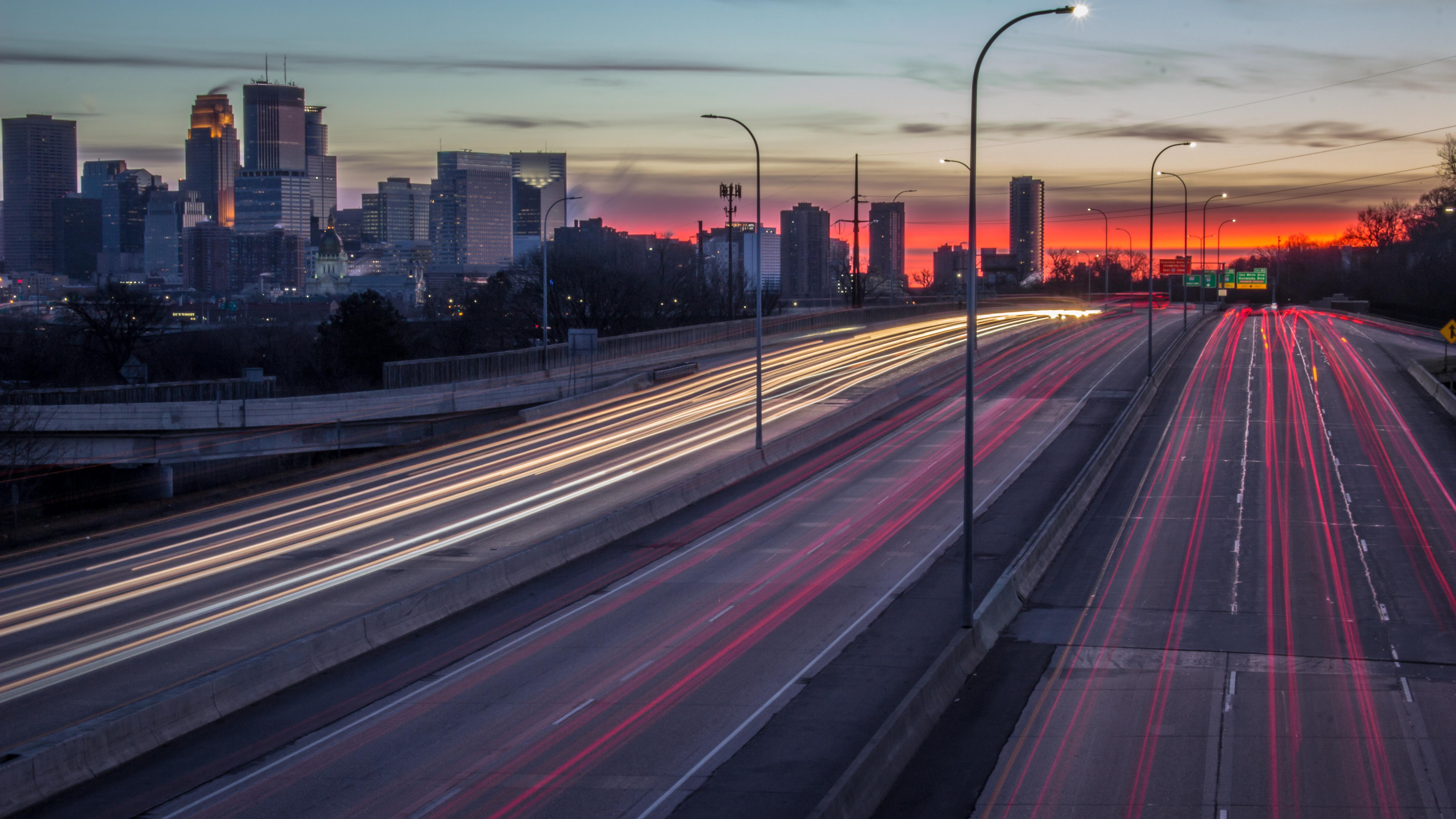Skyline Lighttrails Sunrise Minnesota Minneapolis