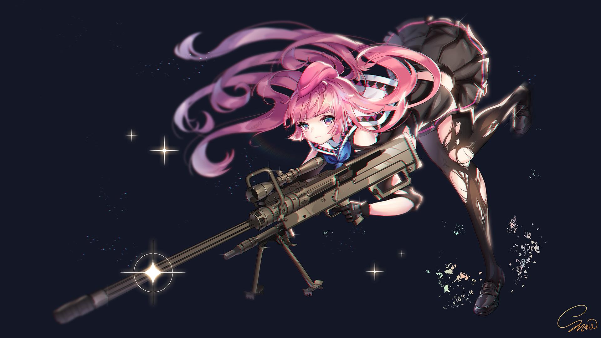 Wallpaper sniper rifle stockings skirt pink hair - Anime sniper girl ...