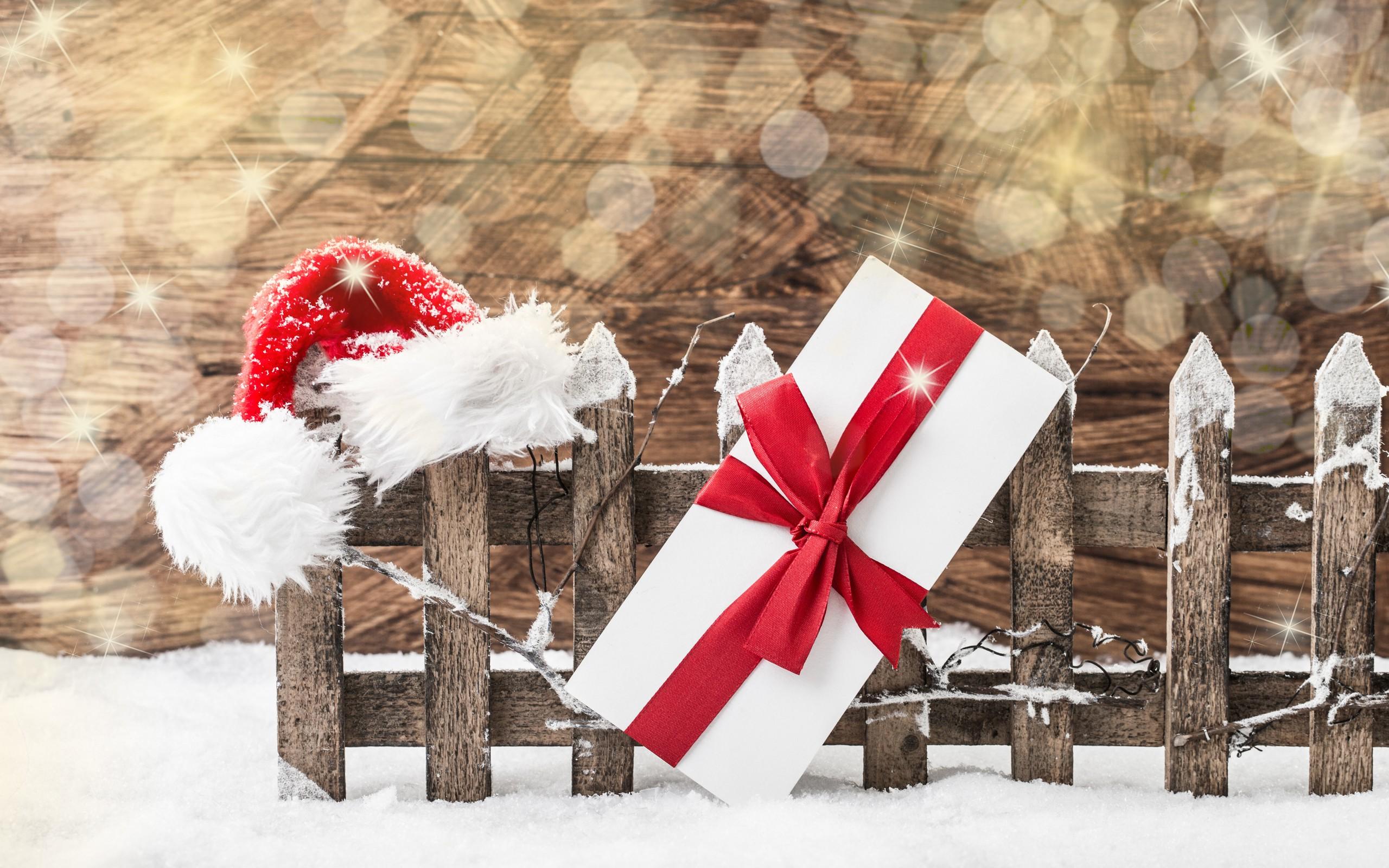 Wallpaper Snow Winter Santa Hats Christmas Presents