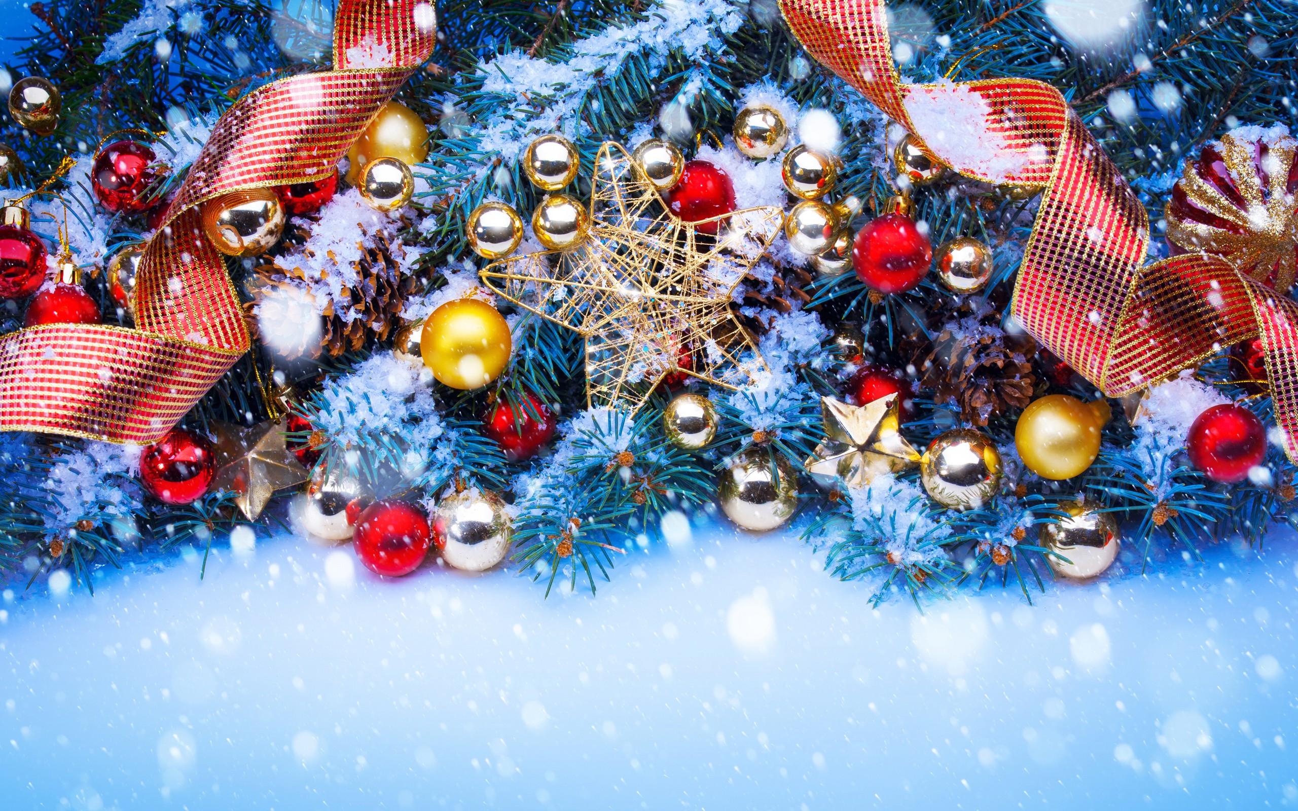 Wallpaper Snow Winter Blue Christmas Tree Christmas Ornaments