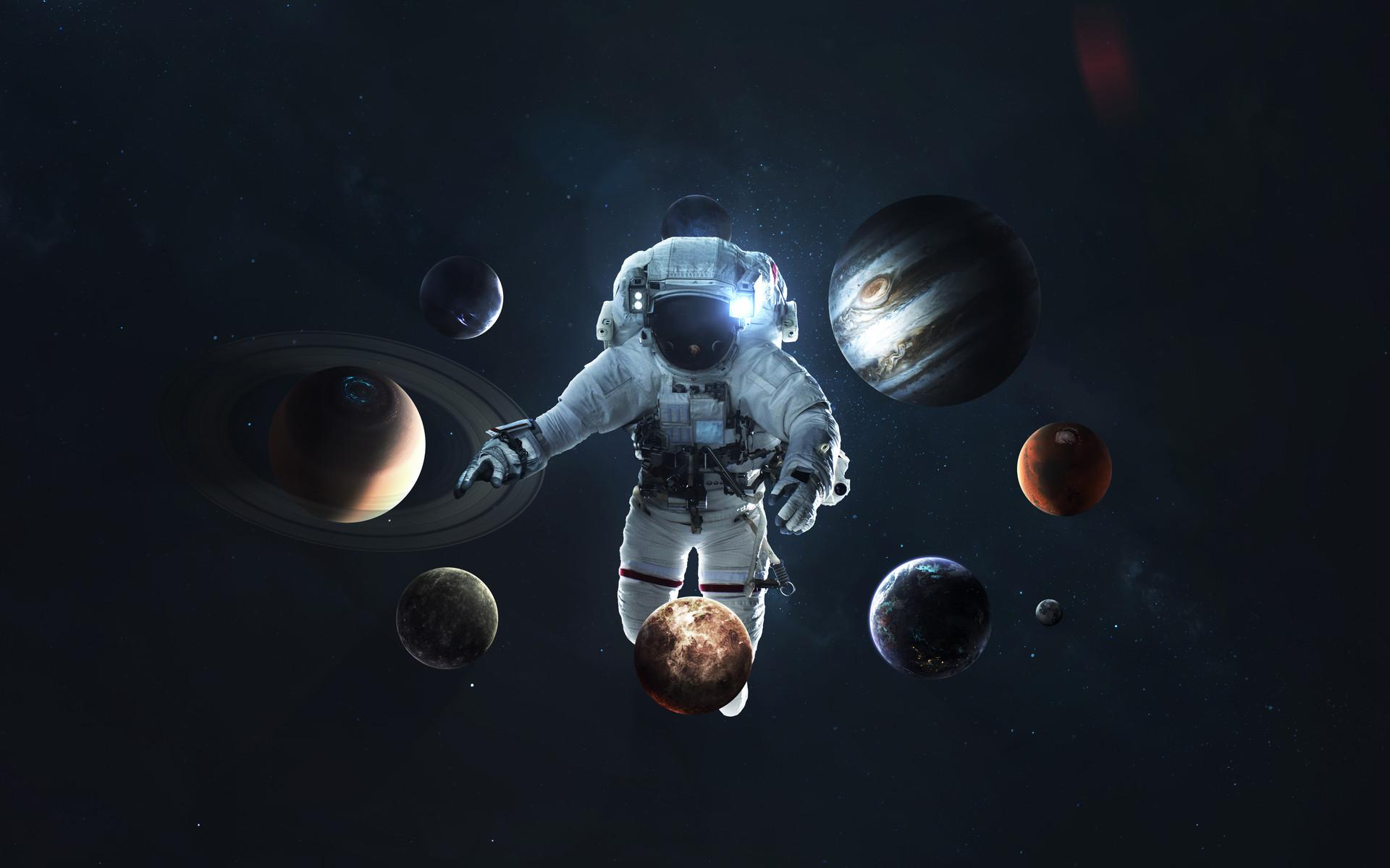 space astronaut galaxy stars Vadimsadovski 1590255