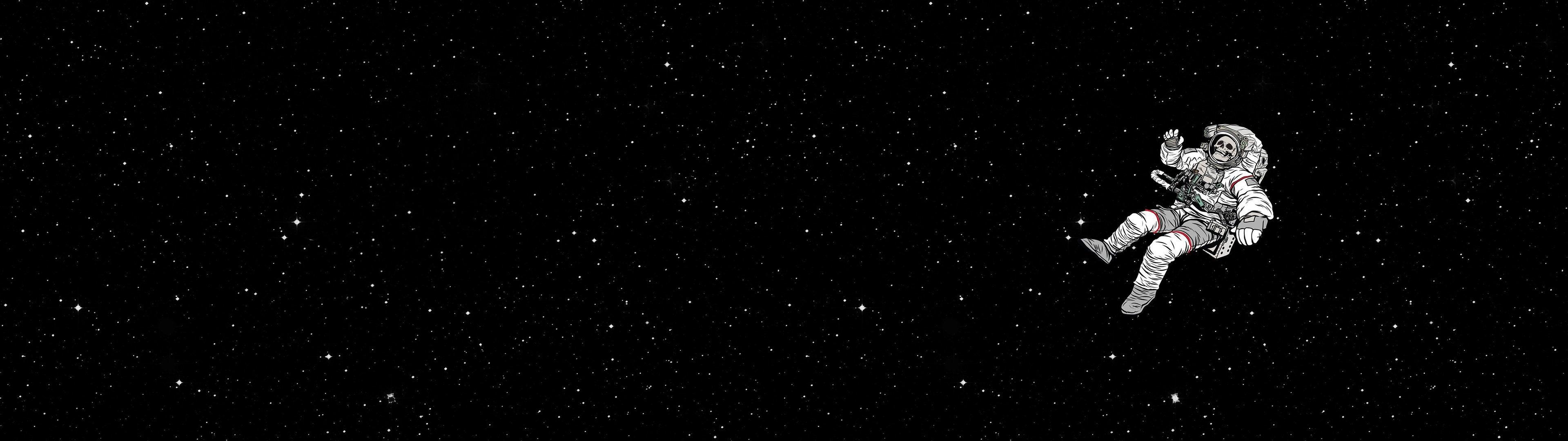 Wallpaper Space Astronaut Skull Stars 3840x1080 00stoyita00 1854245 Hd Wallpapers Wallhere