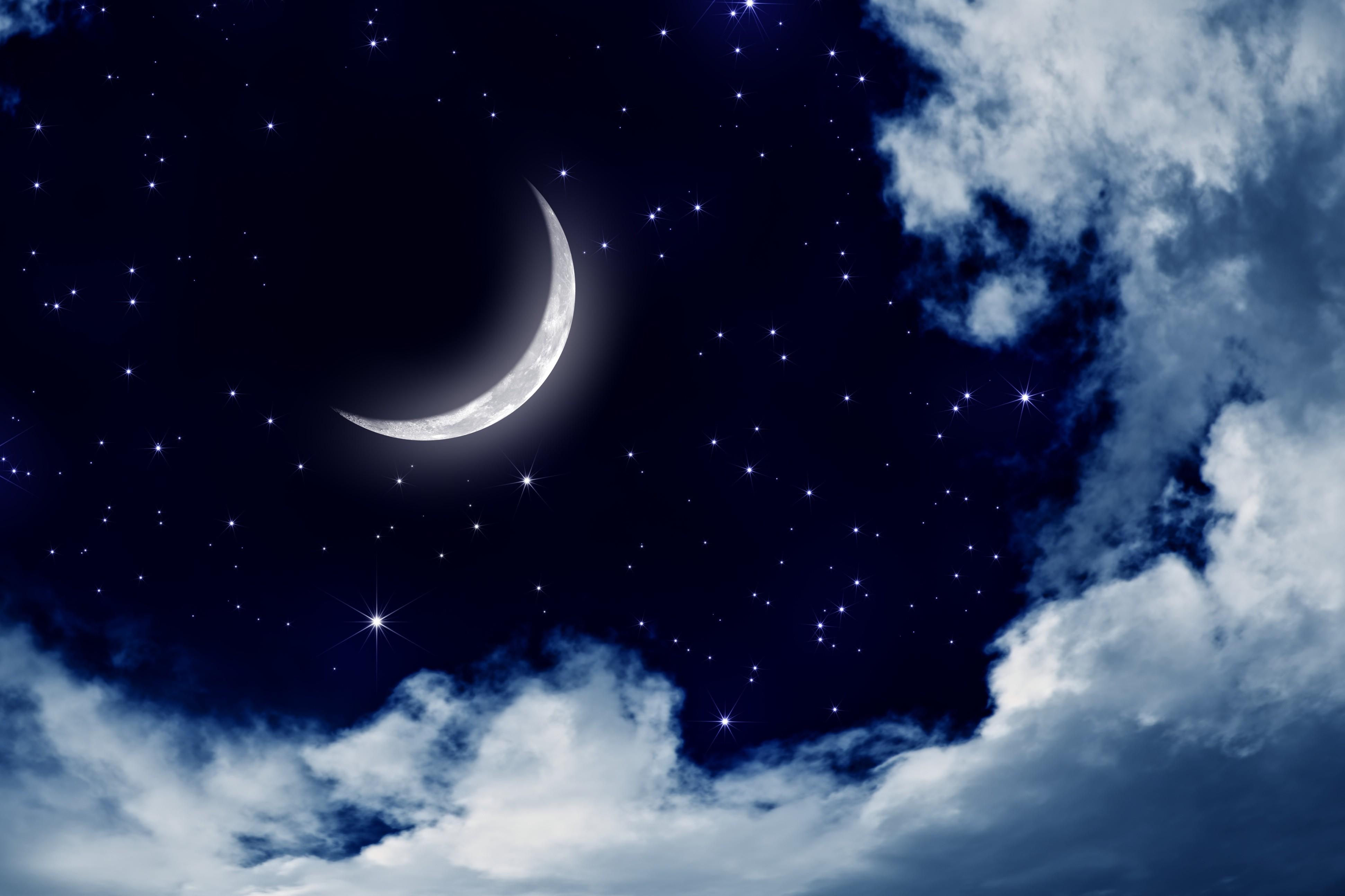 Картинки ночного неба с луной и звездами