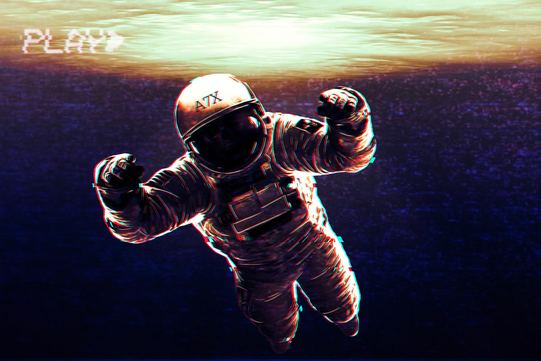 Wallpaper Spaceman Space Retro Art Play 3000x2000