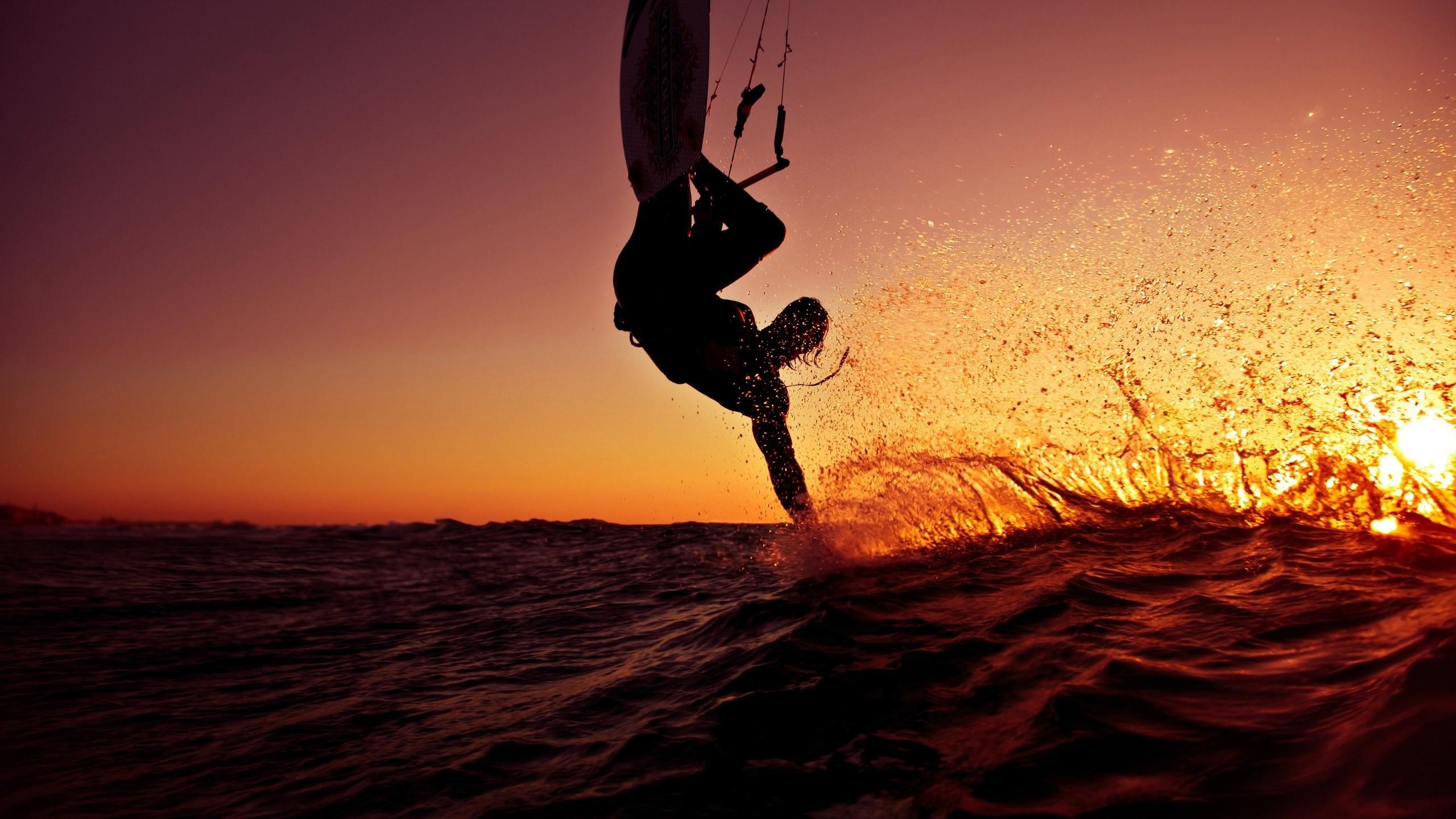 Sport Sunset Sea Evening Sun Dusk Surfing Wave 2560x1440 Px