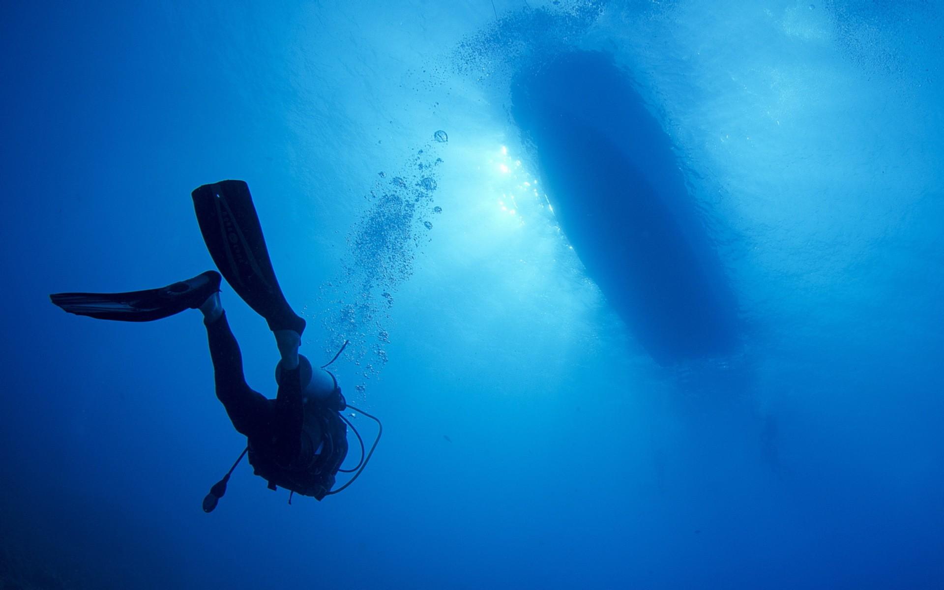Fond Décran Des Sports Bleu Sous Marin Plongeurs