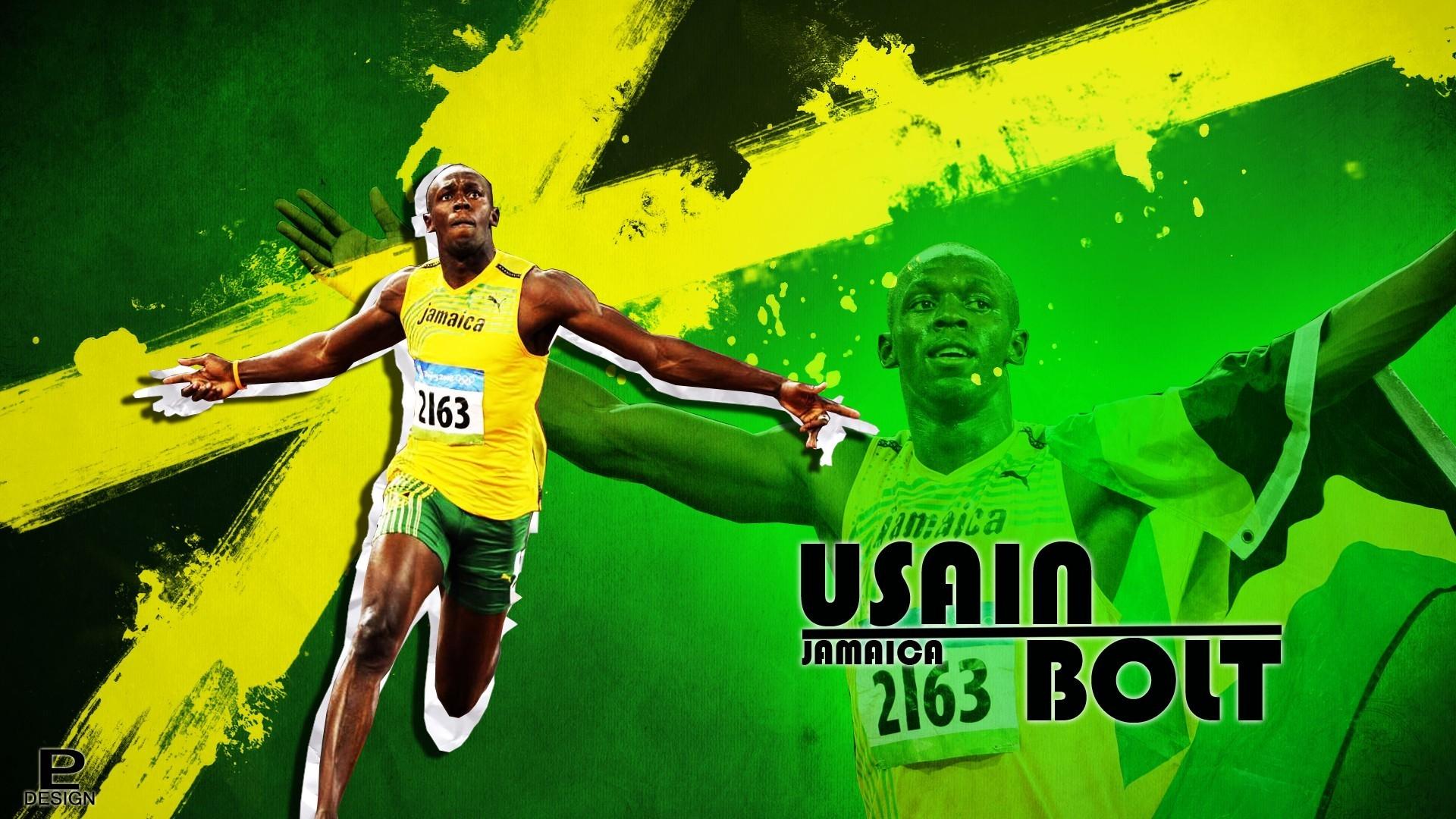 Sports Green Running Poster Usain Bolt Player 1920x1080 Px Football Human Action
