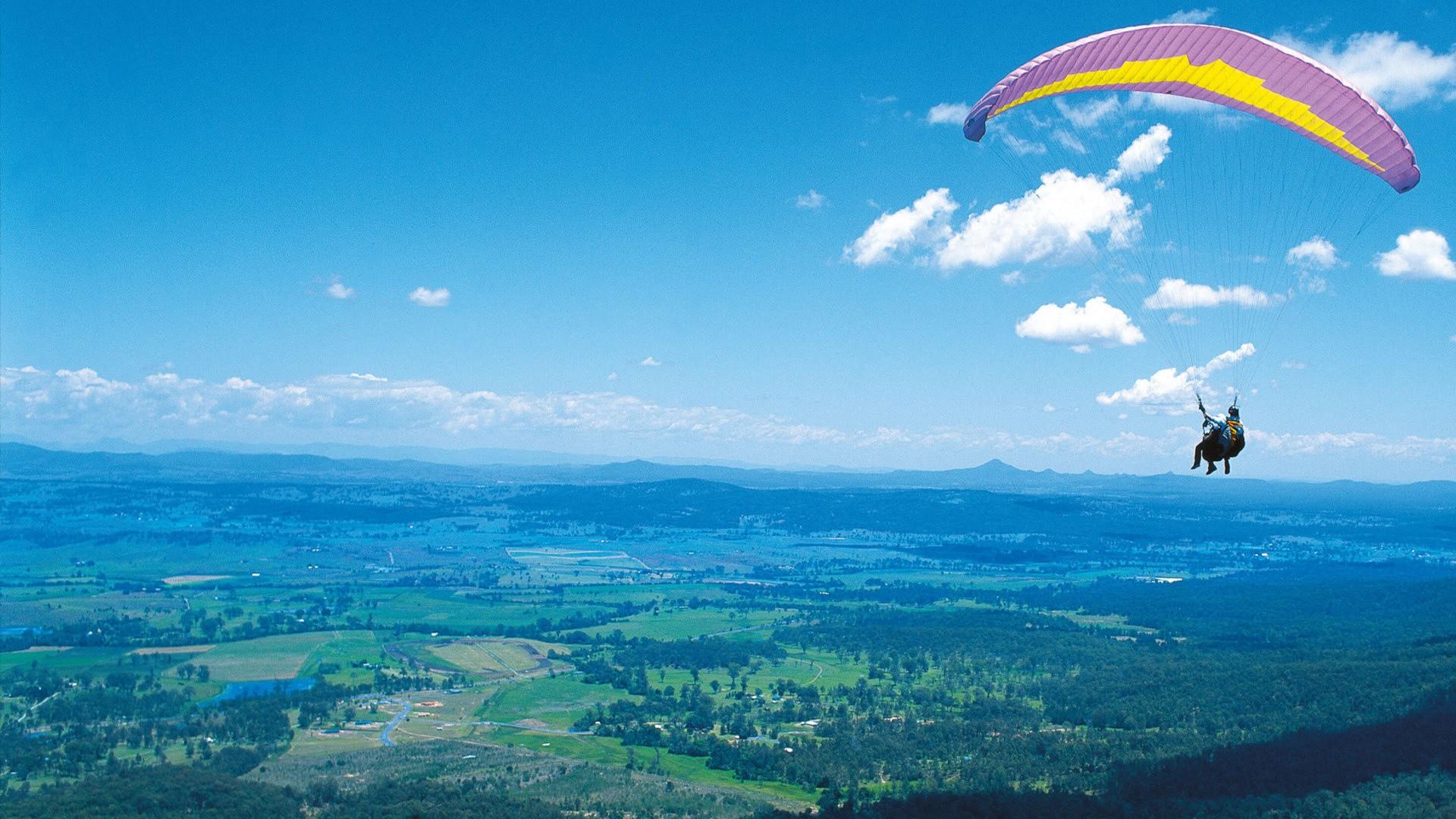 wallpaper : landscape, sky, clouds, skydiver, paragliding, flight