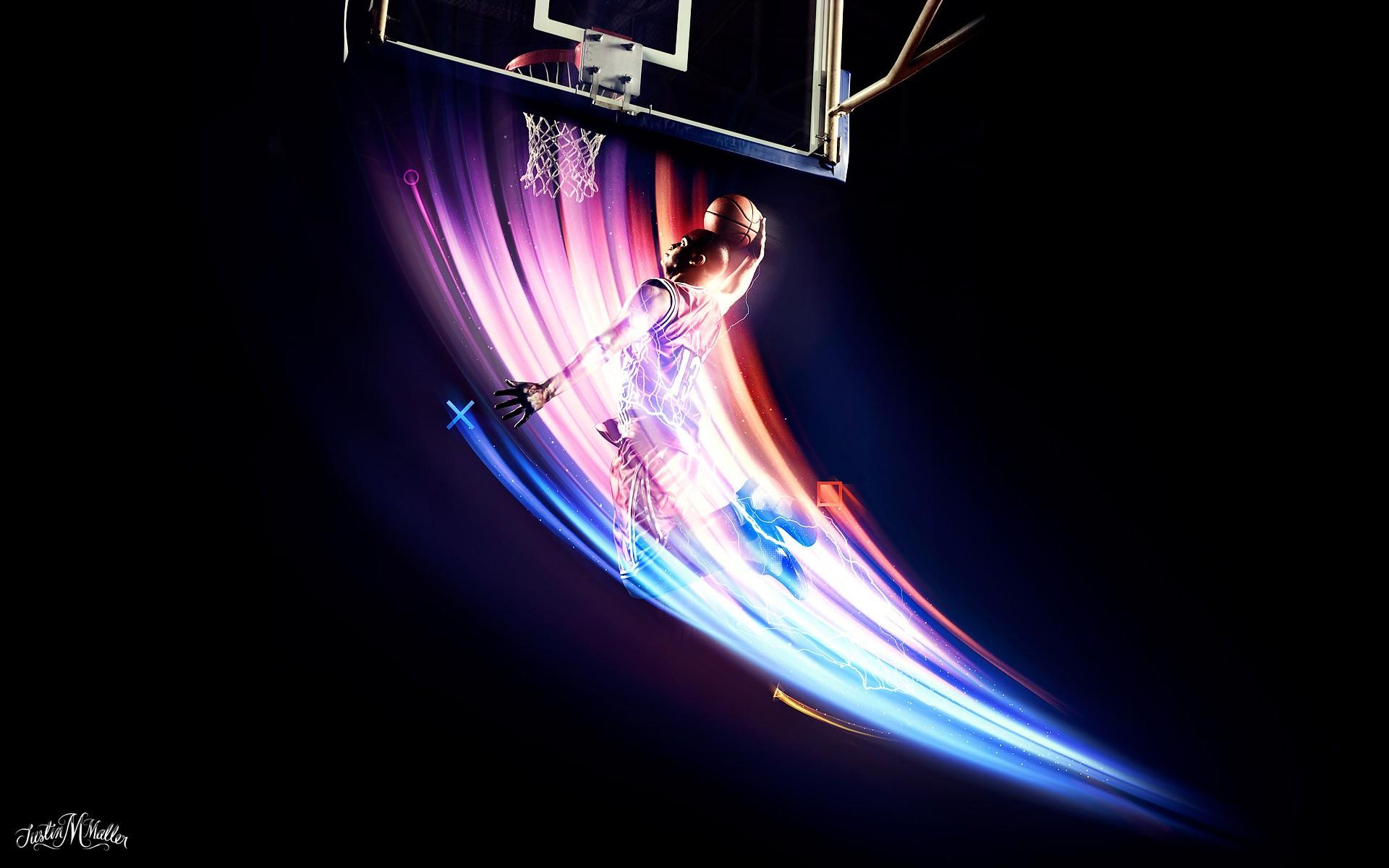 Wallpaper Sports Night Neon Space Circle Basketball Nba