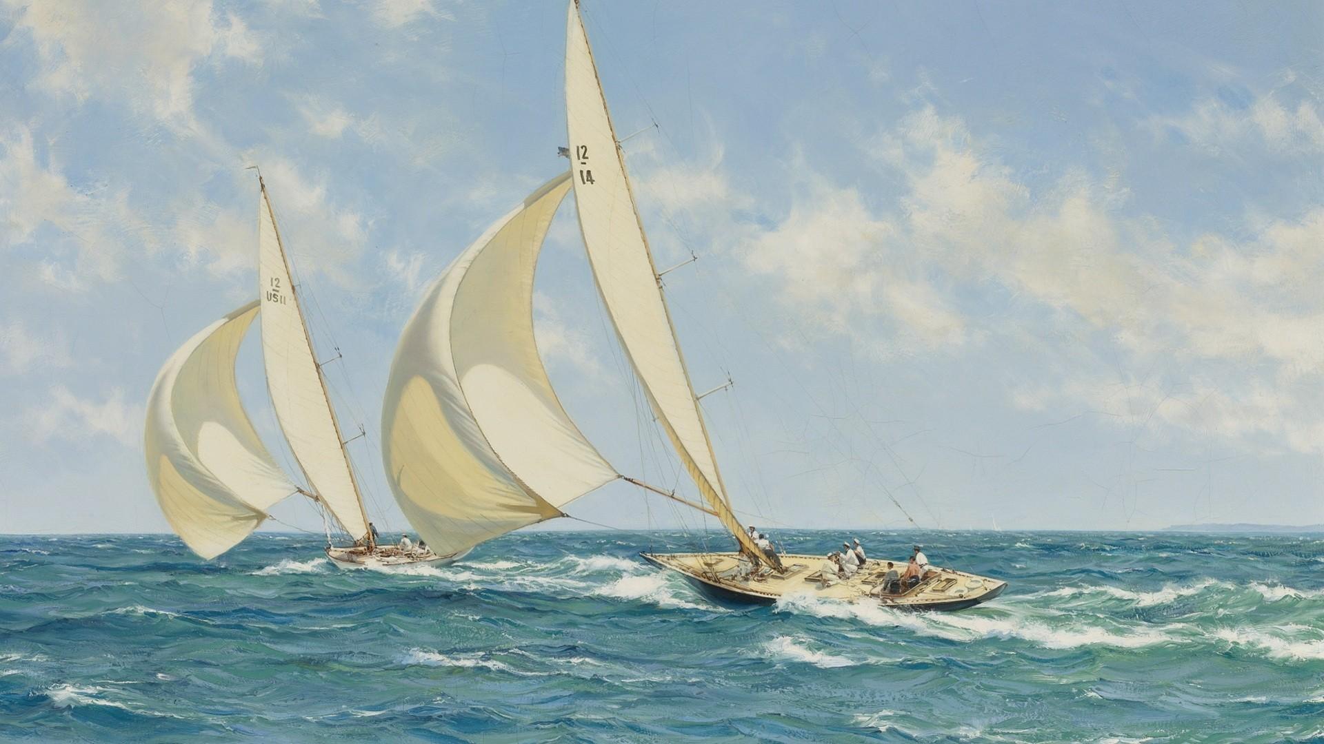 Постер парусник в море