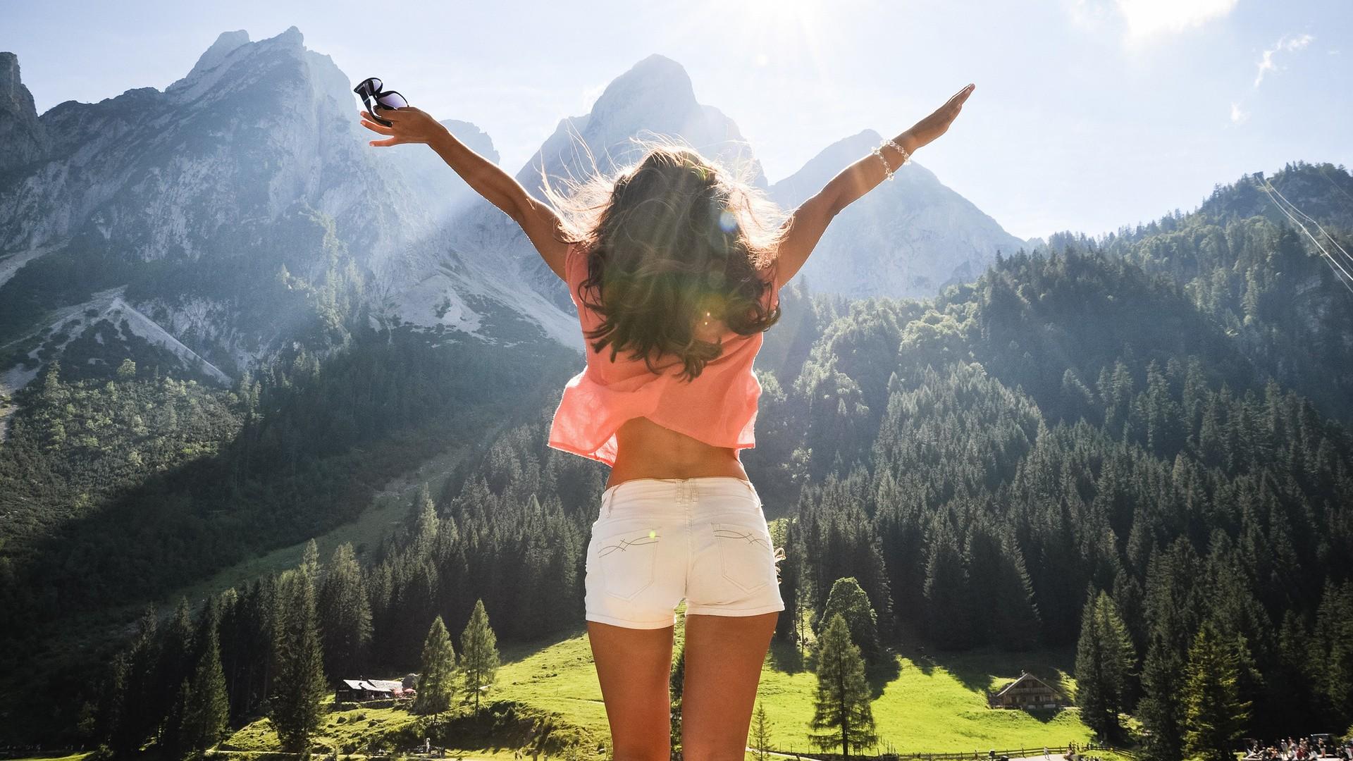 Wallpaper : sunlight, forest, mountains, women outdoors