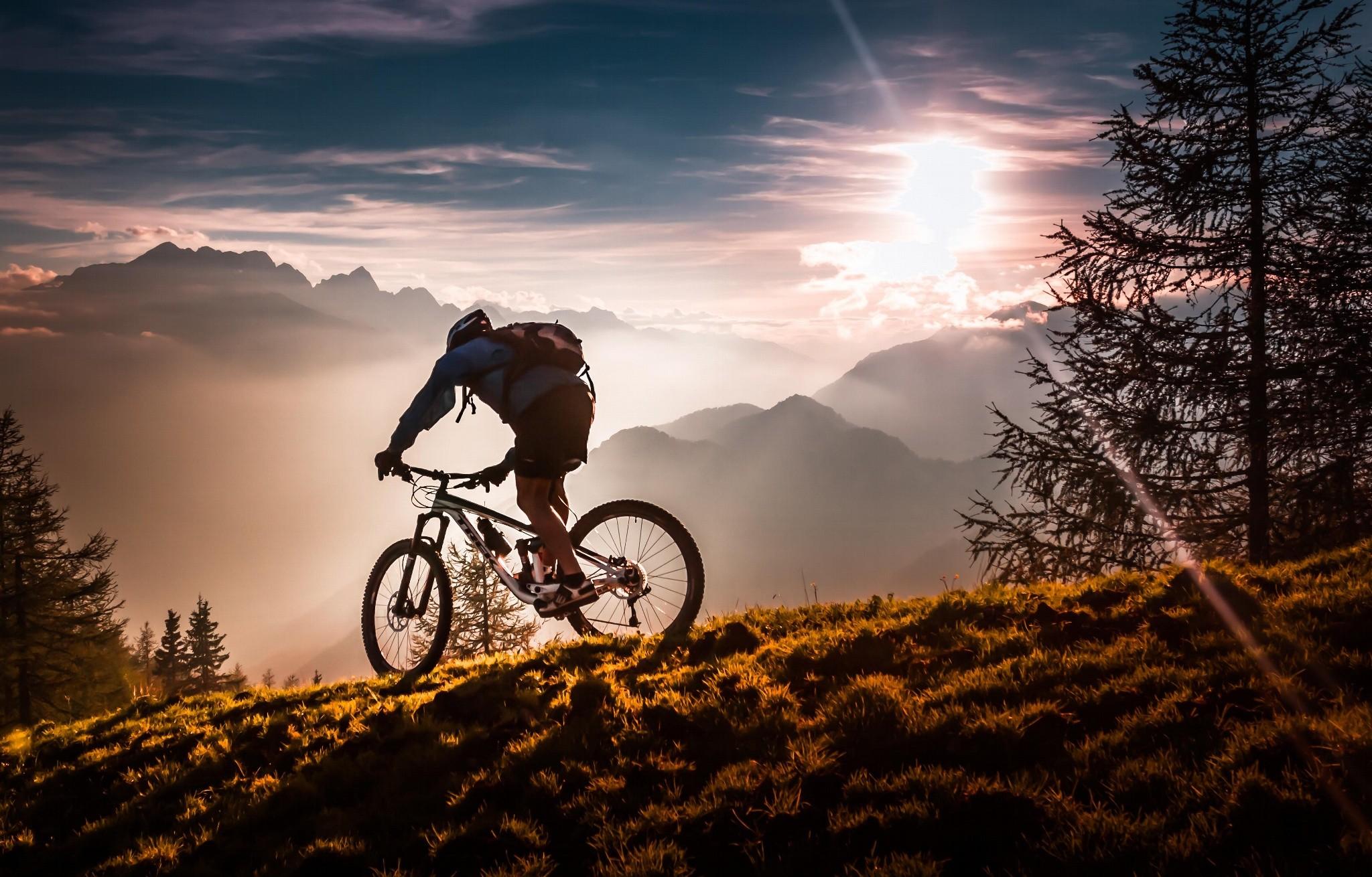 Extreme Mountain Biking Wallpaper: Wallpaper : Sunset, Nature, Bicycle, Vehicle, Evening