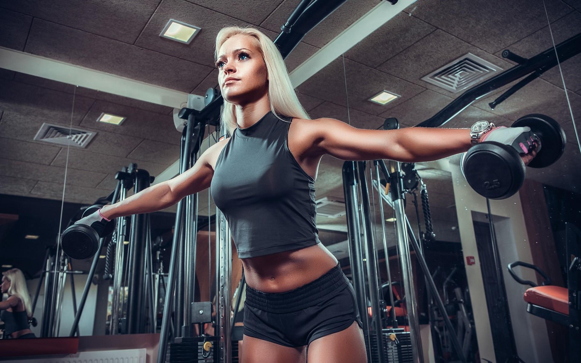 Wallpaper sports women blonde blue eyes room - Wallpaper fitness women ...