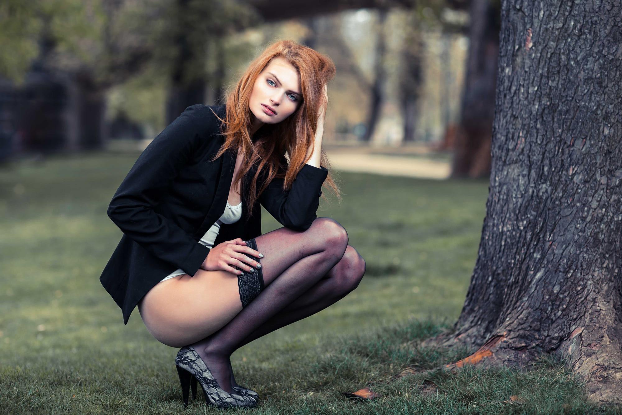 Wallpaper : squatting, Prague, park, women outdoors