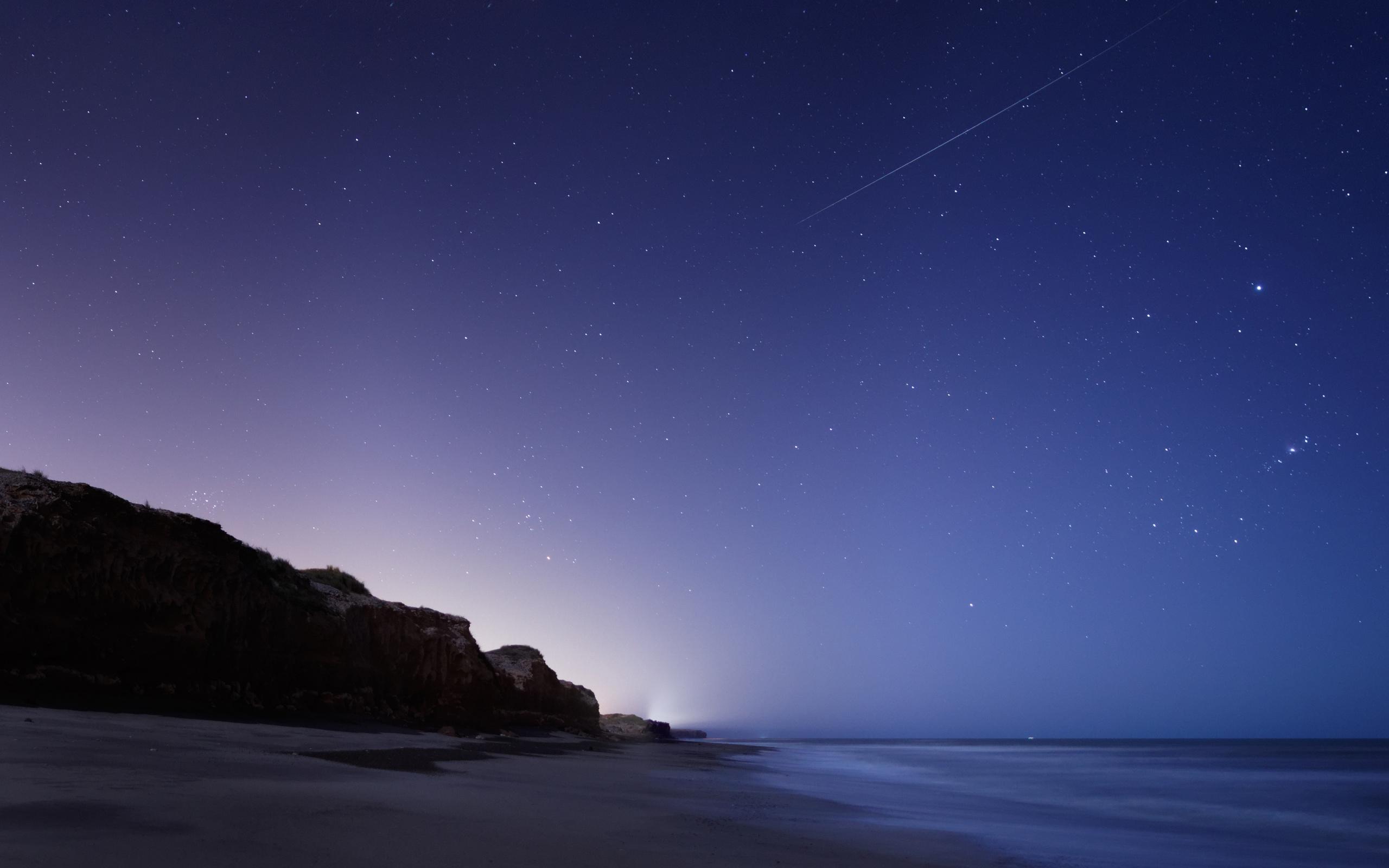 Stars Night Twilight The Sky Falling Sea Rock