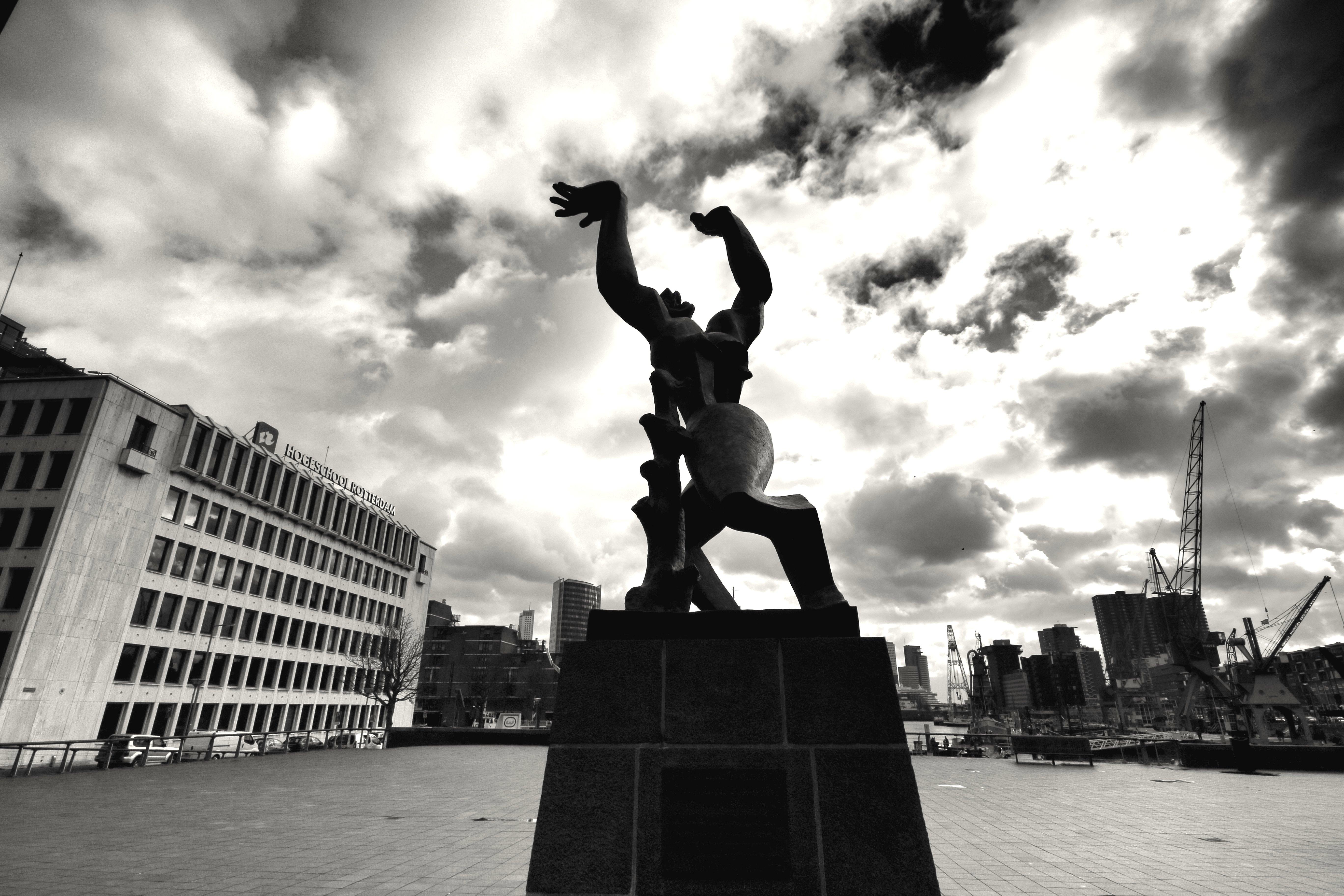 Papel de parede : estátua, céu, Marco, monumento, Preto e branco ...