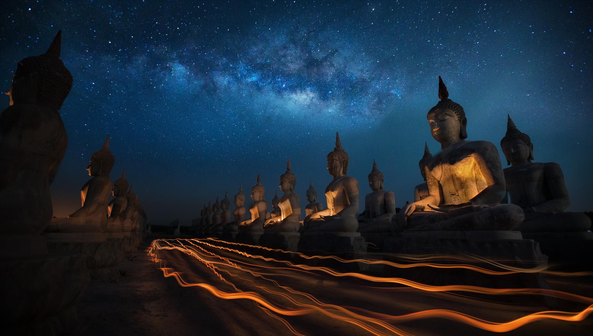 Must see Wallpaper Night God - statue-stars-Buddha-Buddhism-light-trails-1144953  Picture-682764.jpg
