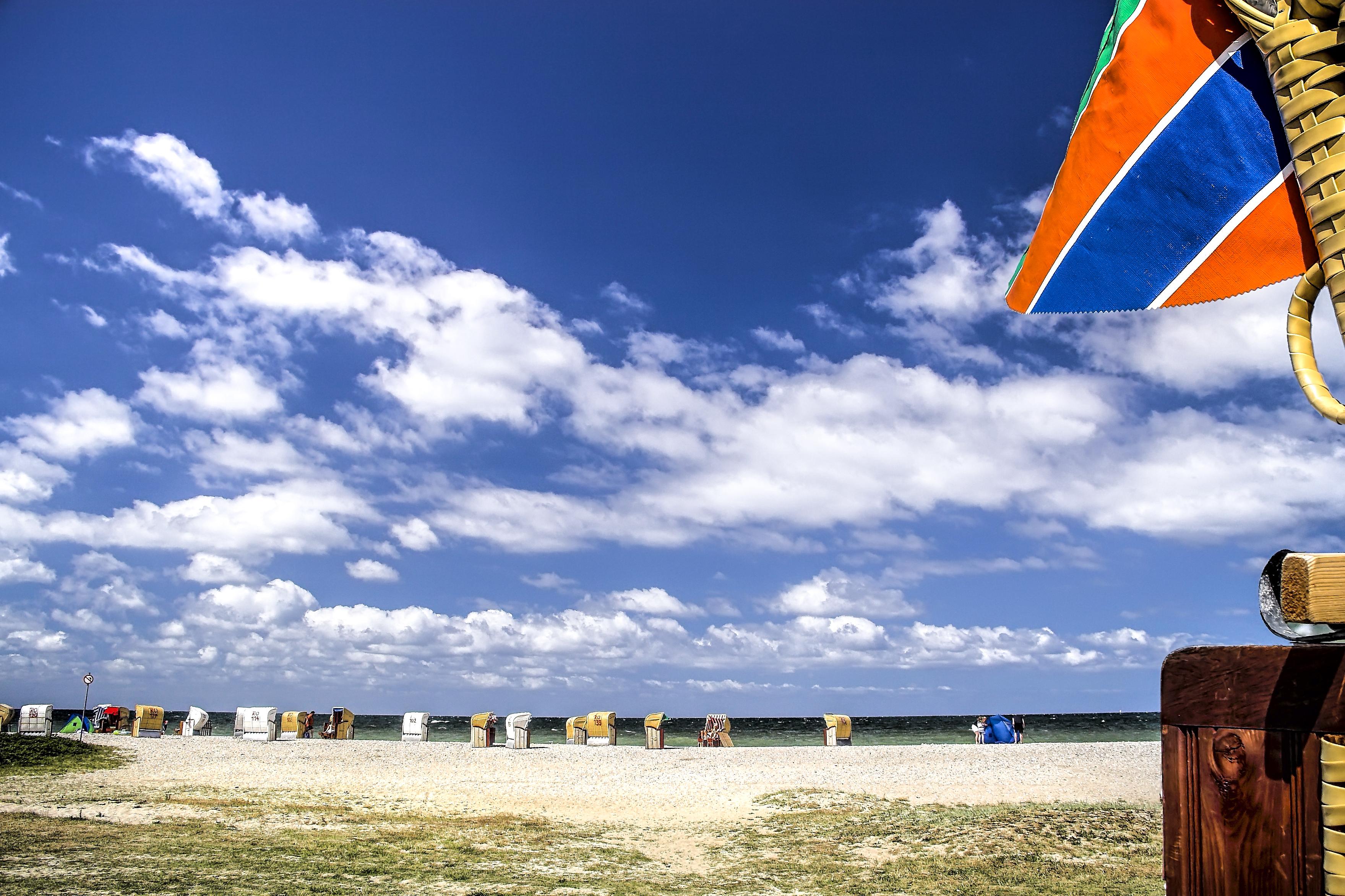 Strandkorb wallpaper  Wallpaper : strand, meer, wolken, himmel, strandkorb, beach, sea ...