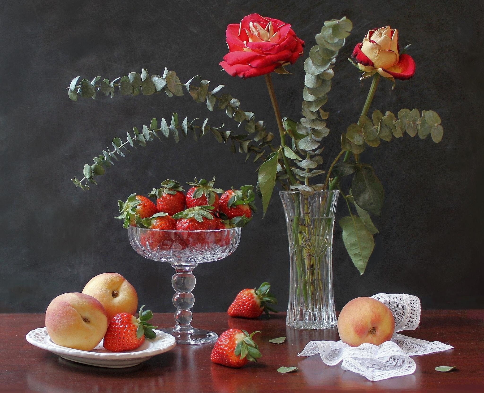 Открытка ваза с фруктами, день рождения романтика