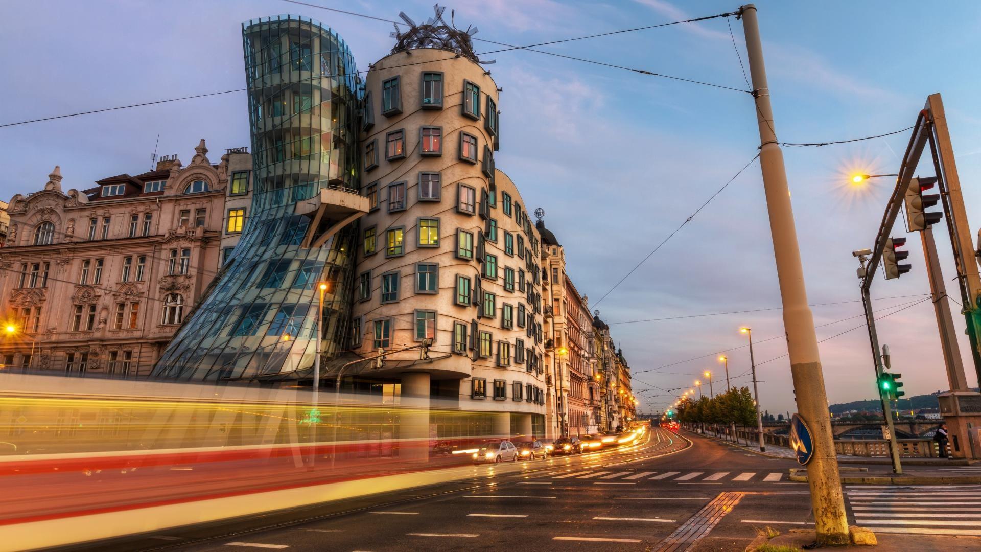 Wallpaper : street light, city, cityscape, architecture, dancing, car, road, clouds, evening, bridge, modern, light trails, capital, old building, ...