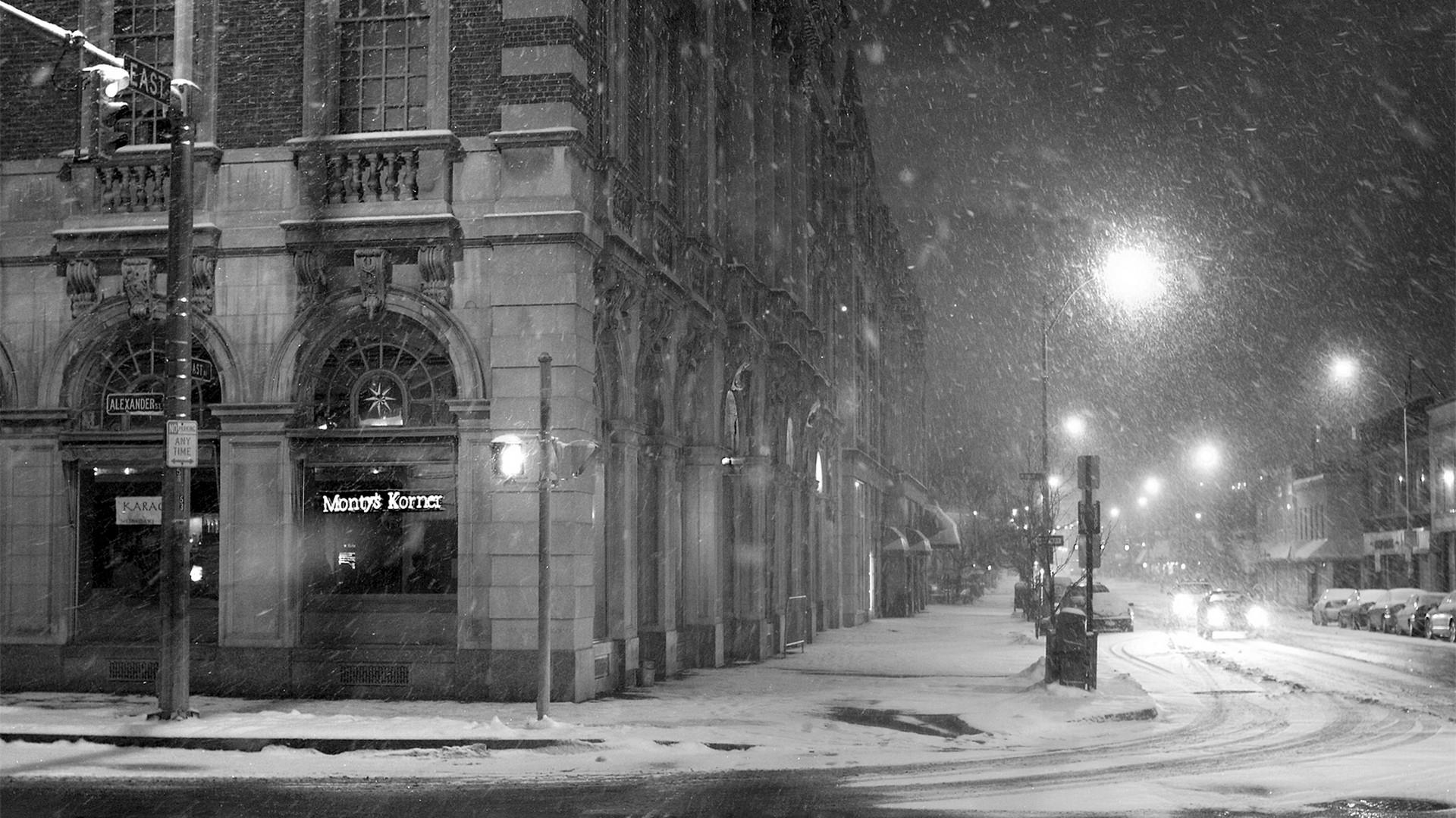 Street Light Monochrome City Night Snow Winter Road Infrastructure Weather Darkness Lane Urban Area Black