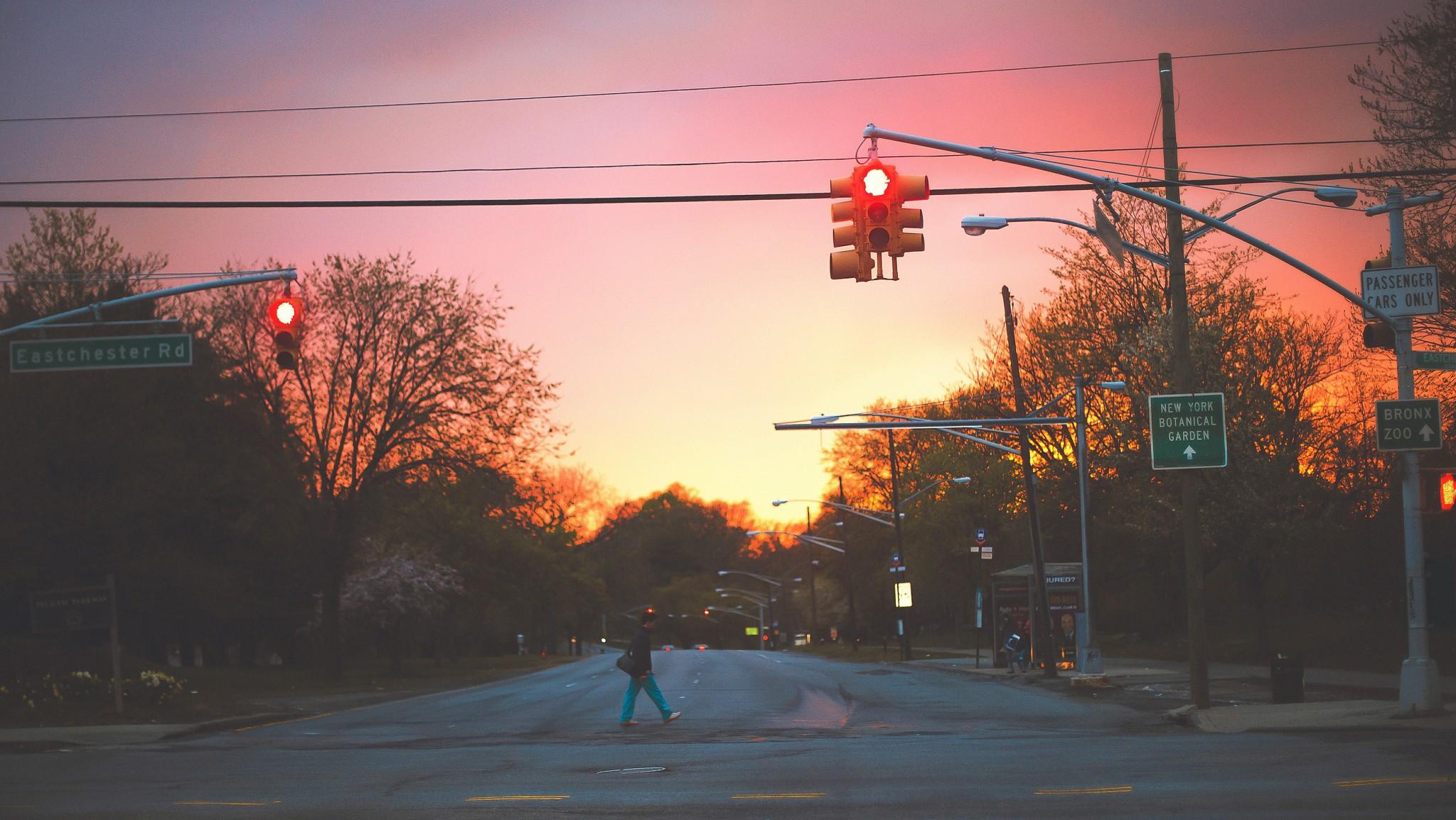 Wallpaper Street Light Sunset Night Sunrise Evening