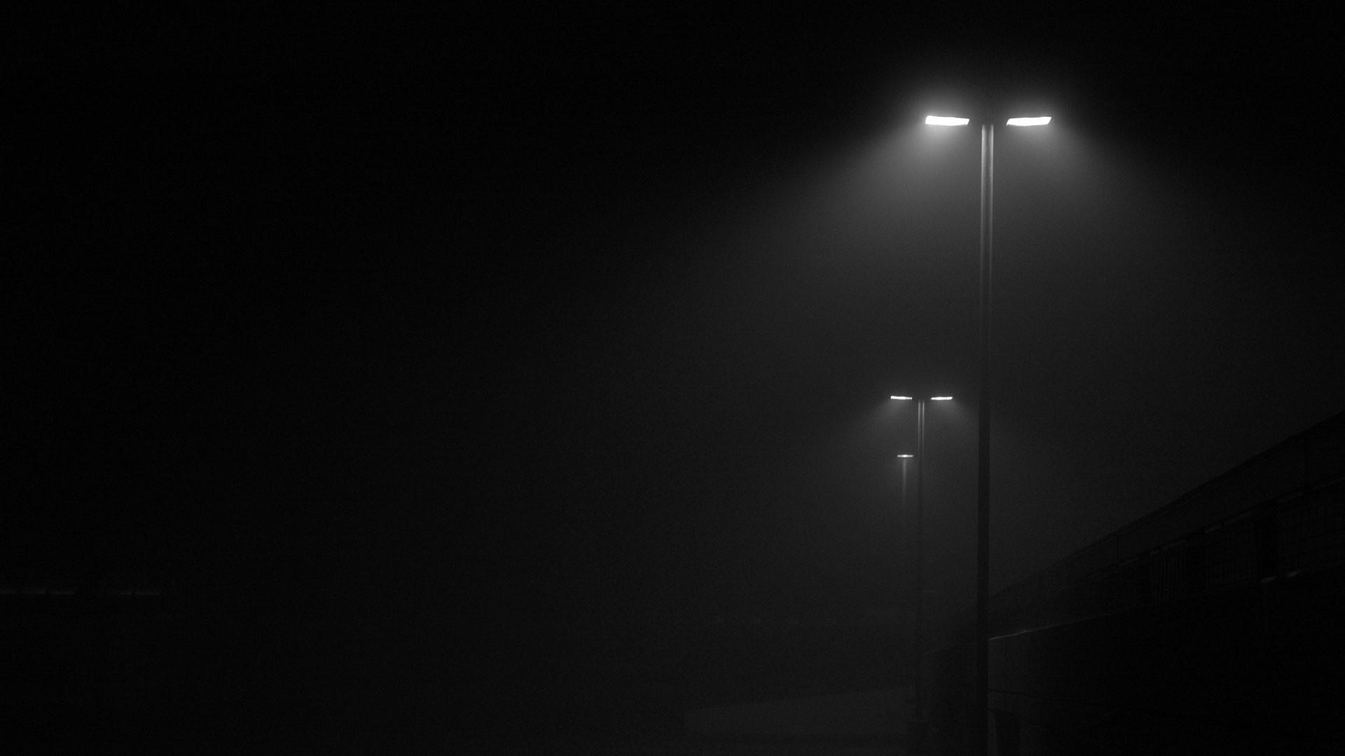 Wallpaper Street Light Night Minimalism Moonlight