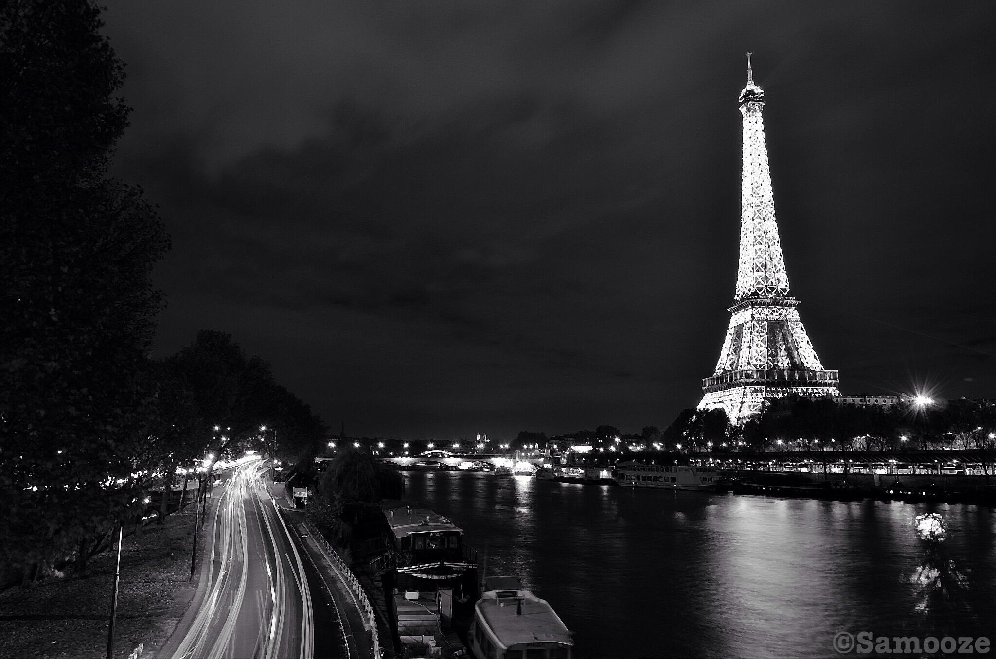 Fond d'écran : longue exposition, Nightphotography, noir et blanc, Bw, Paris, France, la tour ...