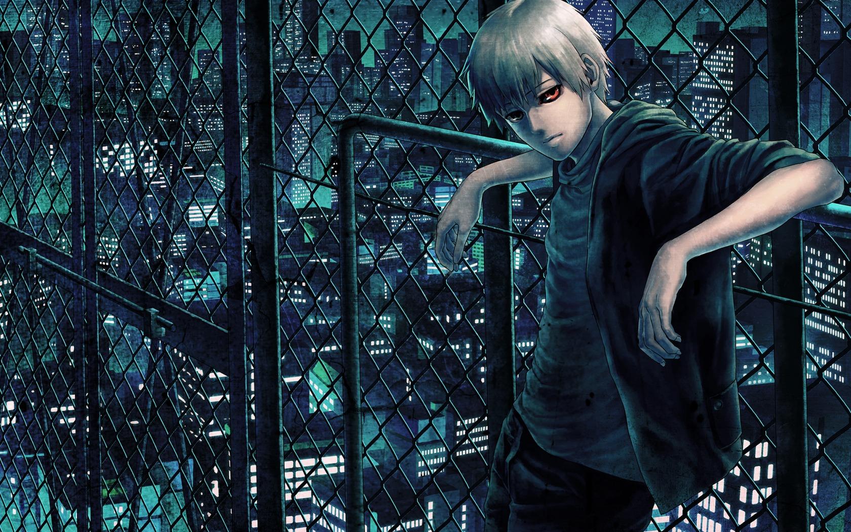 Wallpaper Street Night Blue Kaneki Ken Tokyo Ghoul