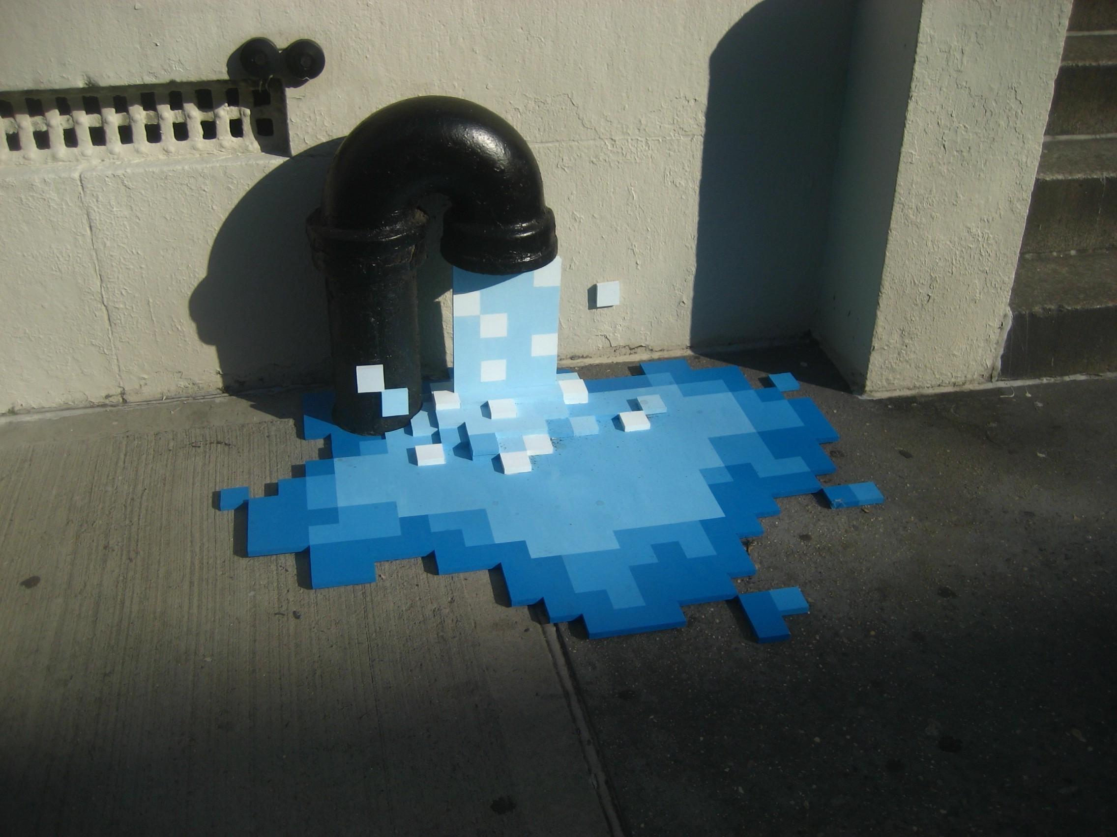 Wallpaper : pixel art, water, building, shadow, artwork