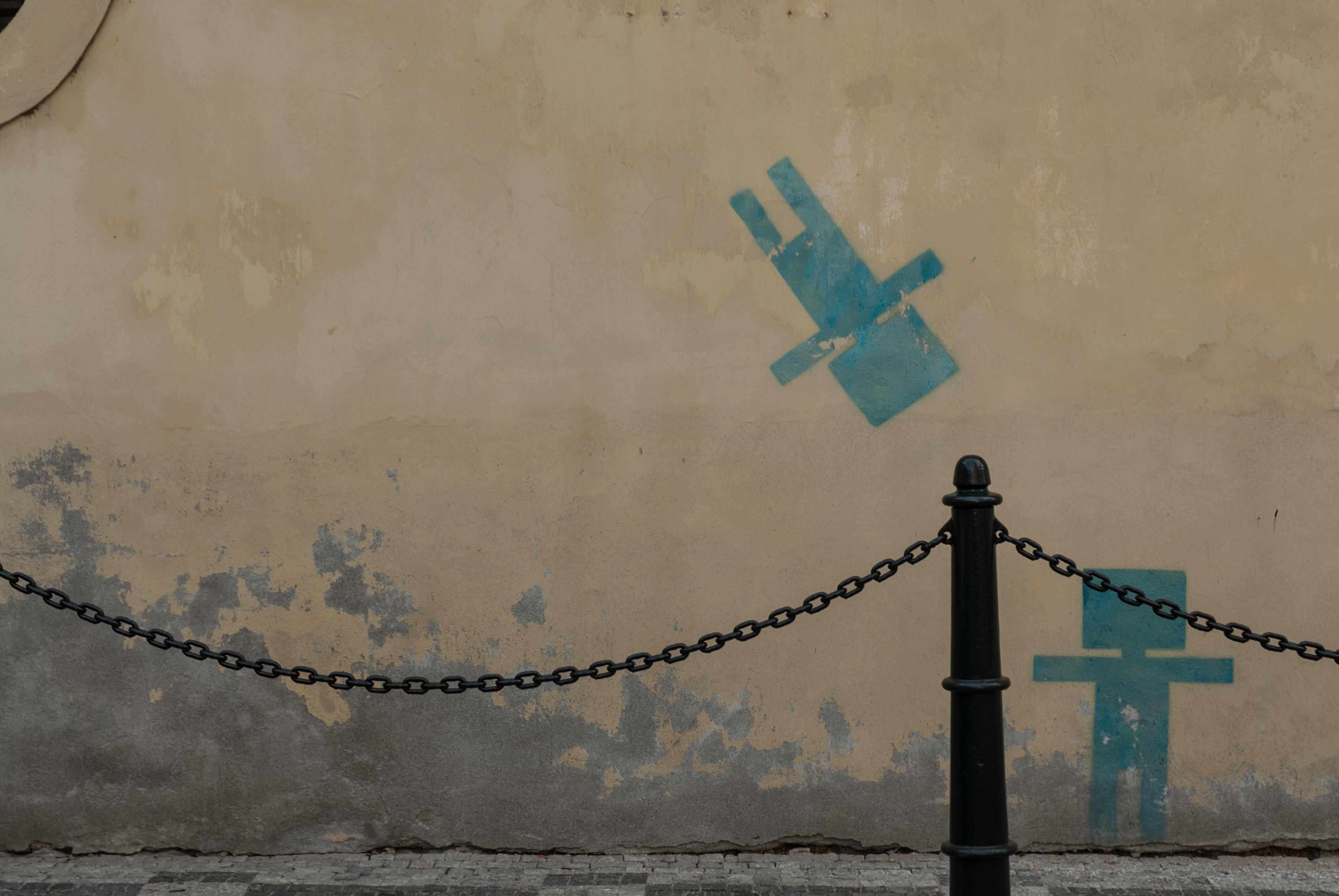 Street Wall Curb Sidewalk Cobblestone Graffiti Streeetart Chain Decay Old Shabby City Urban Exploration