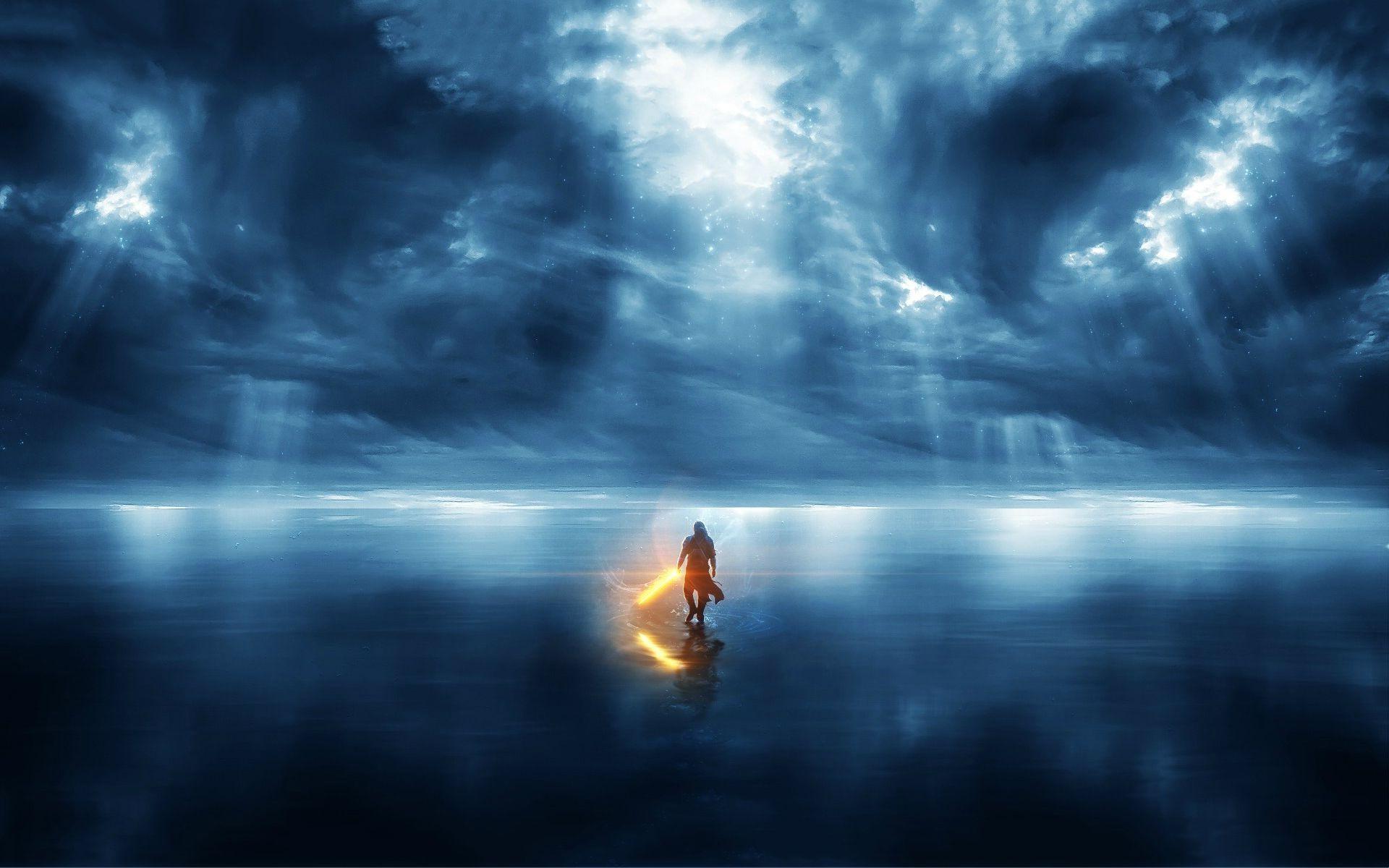 Wallpaper Sunlight Star Wars Sea Reflection Sky Storm