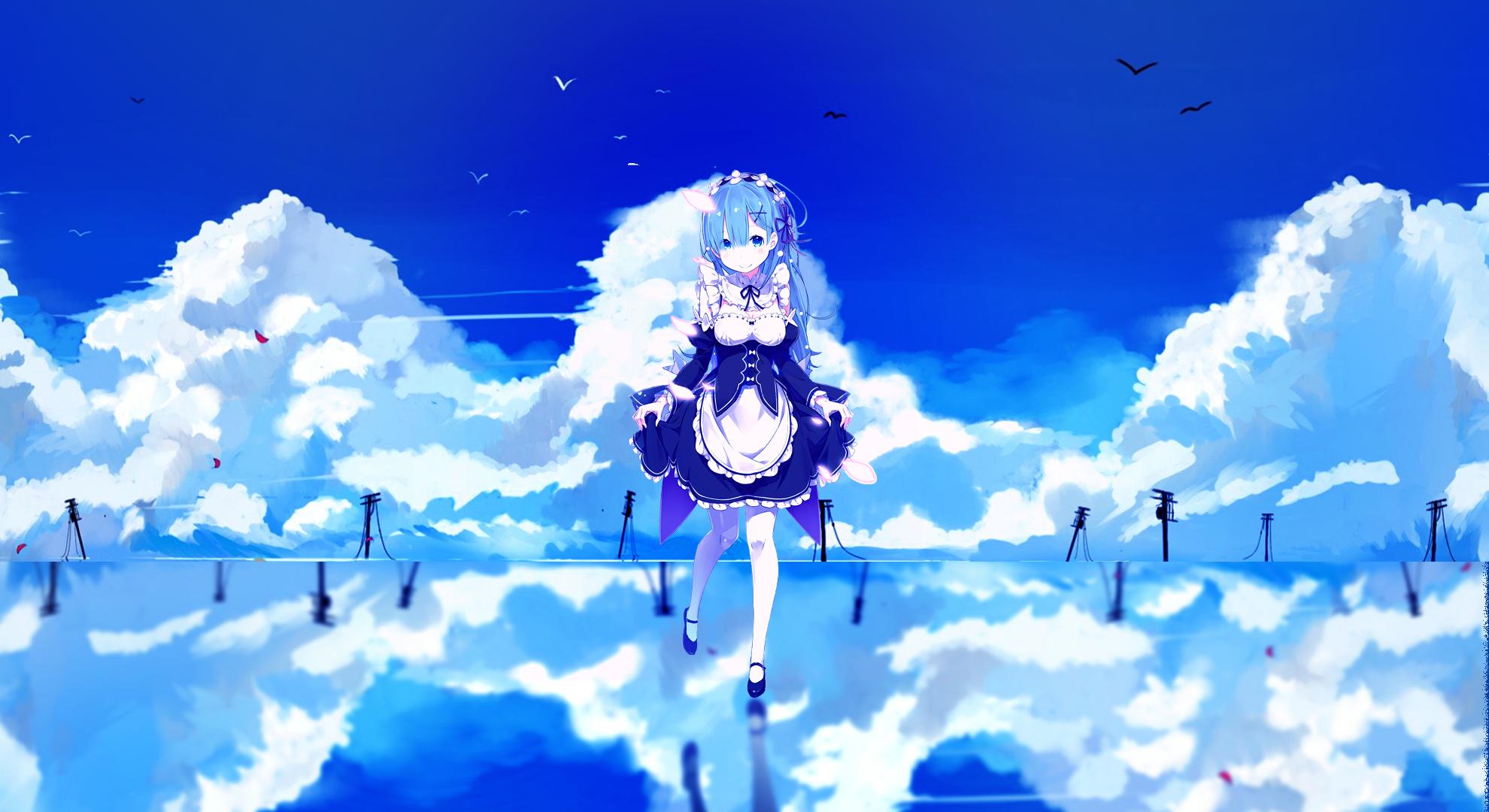 Wallpaper Sunlight Anime Girls Reflection Sky Winter Blue Re Zero Kara Hajimeru Isekai Seikatsu Rem Re Zero Atmosphere Cloud Flower Computer Wallpaper 1980x1080 Kejsirajbek 5645 Hd Wallpapers Wallhere