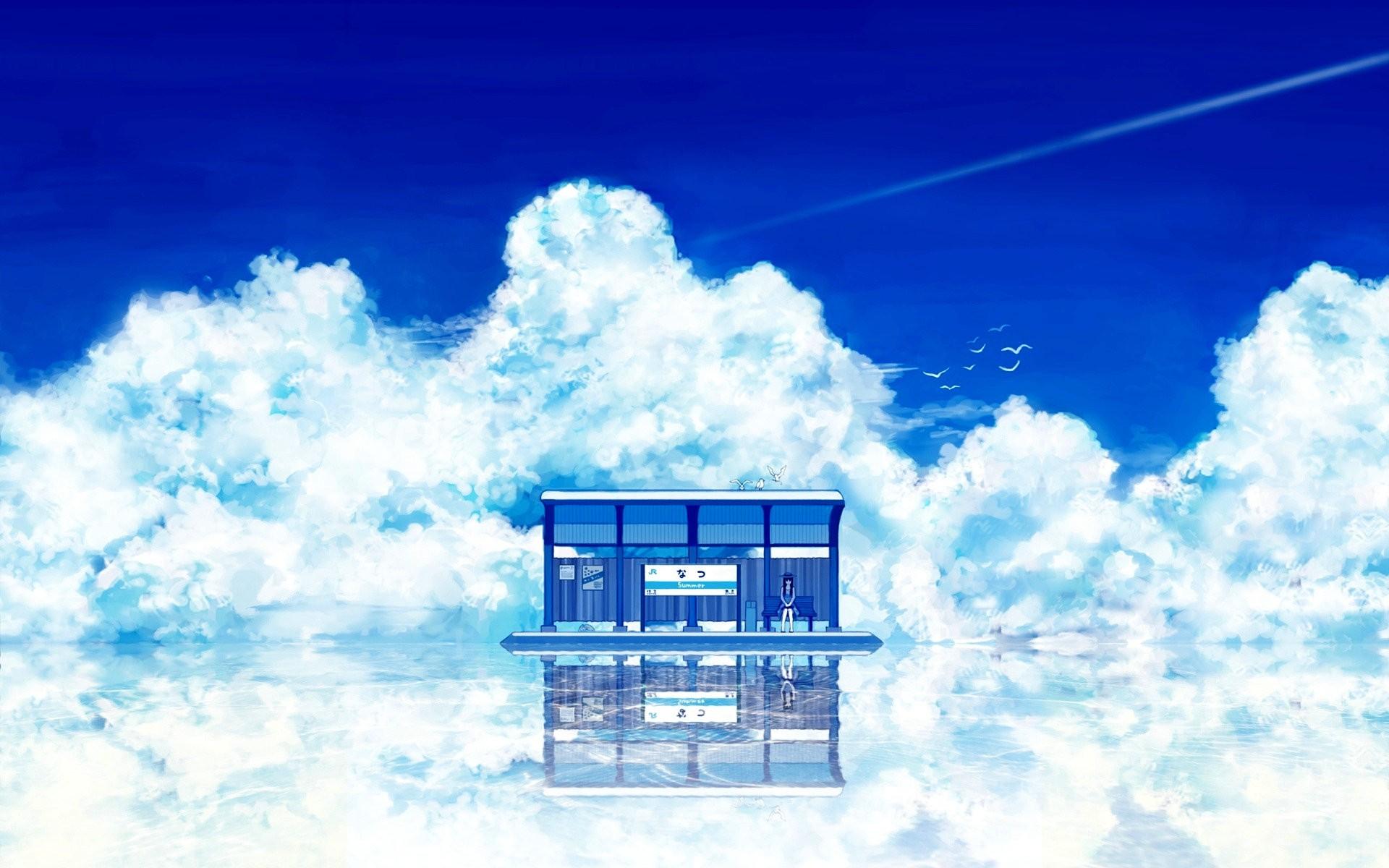 Wallpaper Sunlight Anime Girls Abstract Sky Artwork Alone