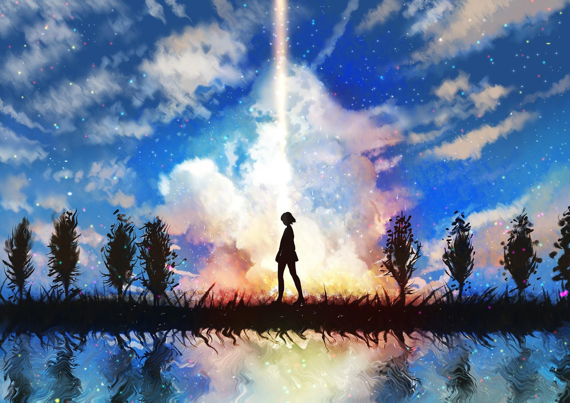Wallpaper Sunlight Anime Girls Reflection Sky Evening